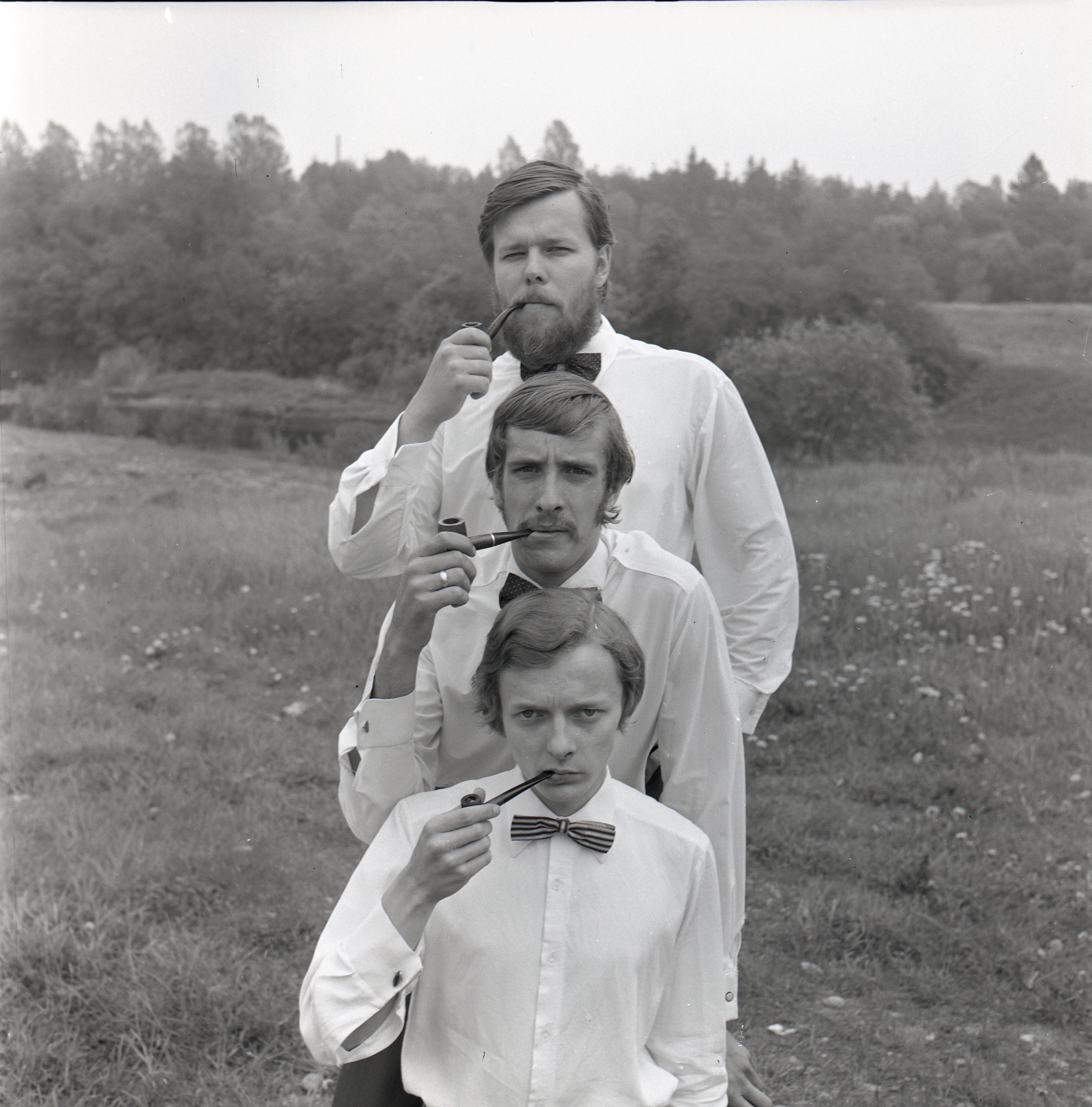"""EFA 0-95066. 1972. aastal tegutsenud ansambel """"Amor Trio"""" – Tõnis Rätsep, Lembit Ulfsak ja Juhan Viiding. Foto: Valdur-Peeter Vahi, 1972"""