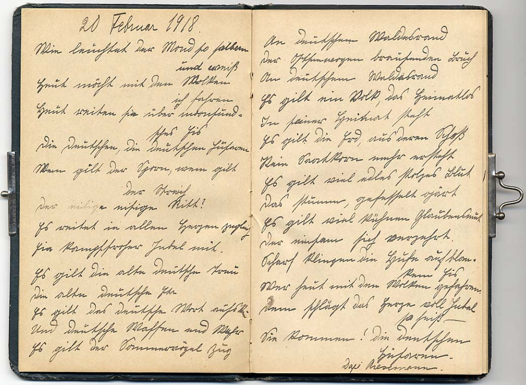 Luuletus, mille Julie Therese von Ungern-Sternberg (sünd 1871, neiuna Dellingshausen) kirjutas albumisse 20. veebruaril 1918. Tema poeg Nils Nikolai von Ungern-Sternberg ühines 1918. aasta lõpul Balti rügemendiga. RA,EAA.1423.1.142