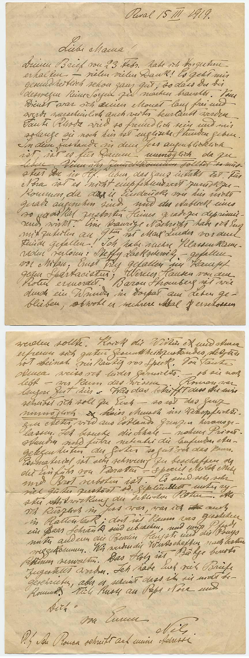 15. märtsi 1919. a. emale saadetud kirjas kirjeldas 19-aastane Tallinnas puhkusel viibiv Nils von Ungern-Sternberg tema kaaslaste ja koolikaaslaste saatust. RA, EAA.1423.1-158