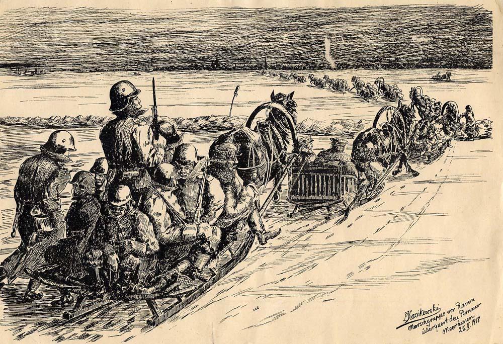 Saksa vägede tulek mandrile üle Muhu väina. EAA 2073-1-26