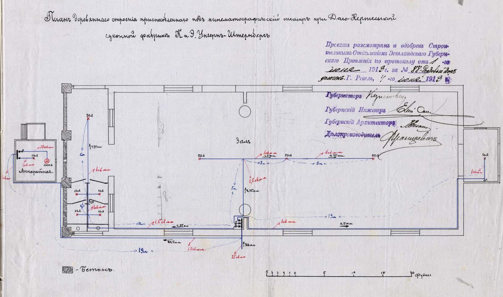 Hiiu-Kärdla vabrikukino plaan. Kinnitusallkirja andis teiste seas ka kuberner. RA, EAA.33.3.3051, l. 22a. 33_3_3051_22a