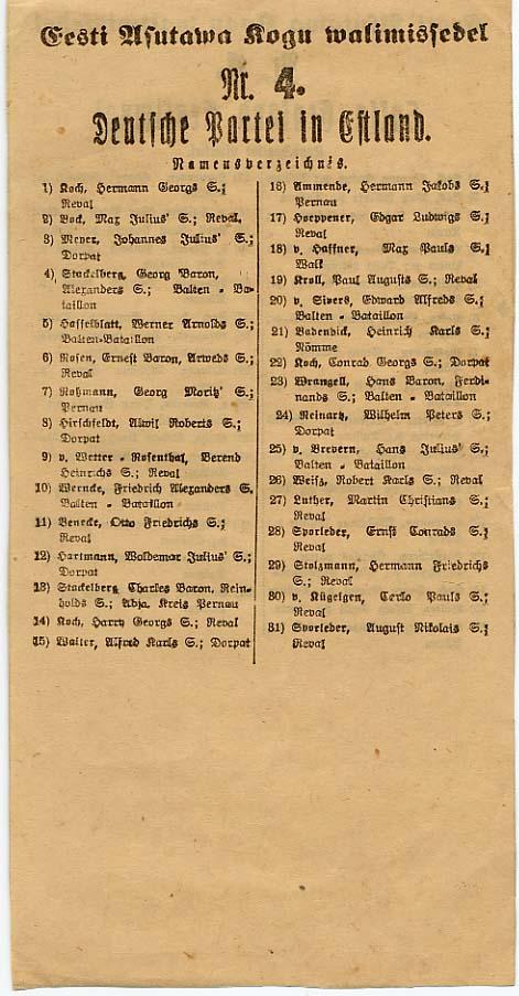 Saksa-Balti partei kandidaatide nimekiri Eesti Asutamisassamblee valimistel 1919. aasta aprillis. RA, EAA.3742.1.11, l. 5p
