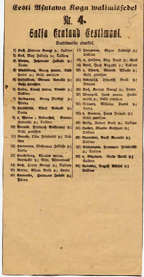 Saksa-Balti partei kandidaatide nimekiri Eesti Asutamisassamblee valimistel 1919. aasta aprillis. RA, EAA.3742.1.11, l. 5