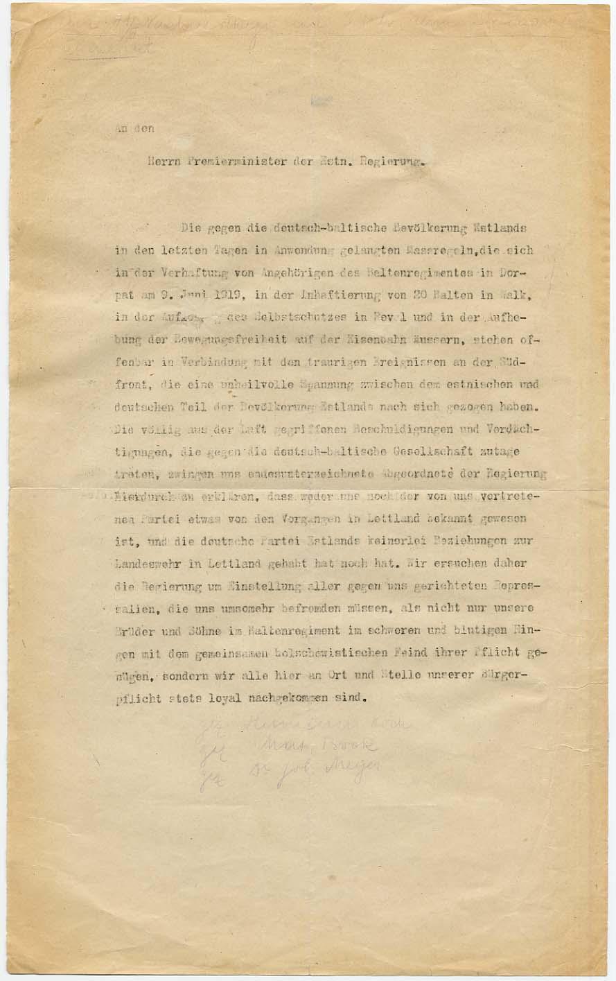 1919. aasta suvel Saksa Partei Eestimaal Asutava Kogu saadikute esitatudpalvekiri peaminister Otto Strandmanile lõpetada baltisakslaste tagakiusamine. RA, EAA.854.2.1417