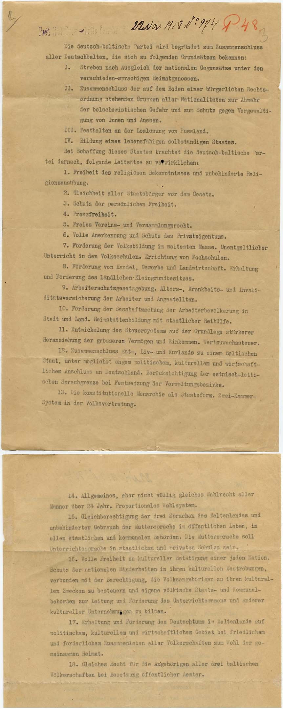 Saksa-Balti partei Eestis loodi 23. detsembril 1918. Novembris koostatud programm propageeris ühtse Balti riigi konstitutsioonilist monarhiat. RA, EAA.854.2.2716, l. 3