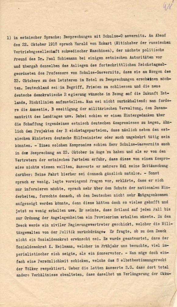Väljavõte professor von Schulze-Gaevernitz'i Tallinna külastuse kirjeldusest, kus ta väljendas pettumust. RA, EAA.957.1.306, l. 98