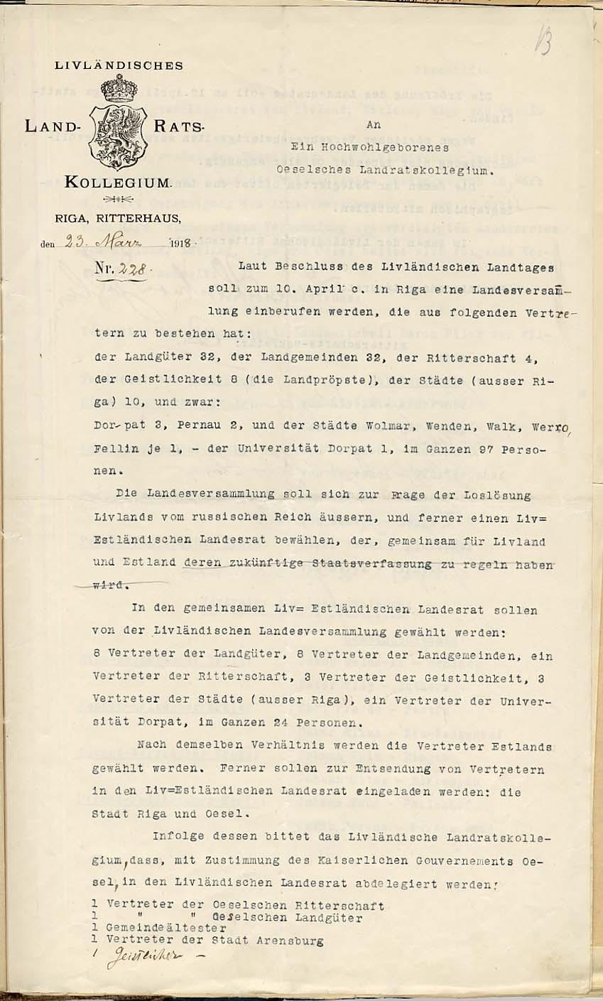 Liivimaa rüütelkonna resideeriva maanõuniku teade23. märtsil 1918 Saaremaa Maanõunike Kolleegiumile. RA, EAA.957.1.306, l. 13
