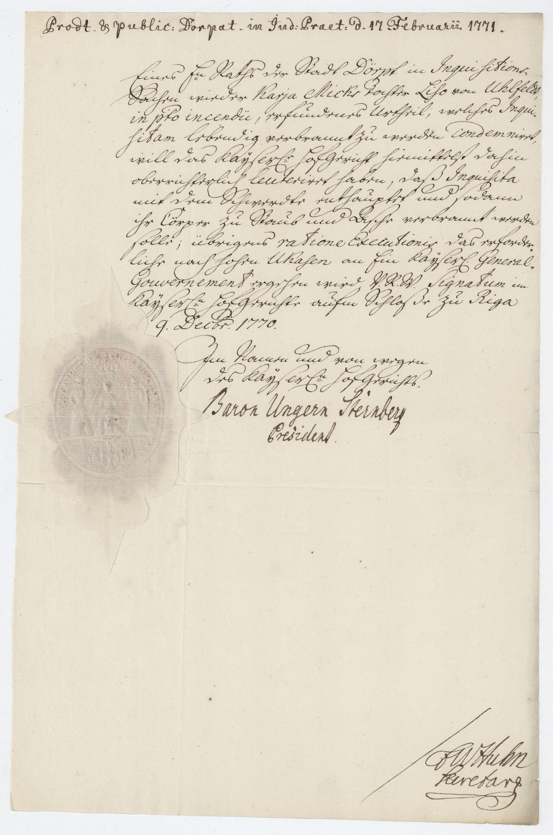 Liivimaa õukohtu presidendi parun Ungern-Sternbergi kiri Tartu raele. EAA.995.1.2948.