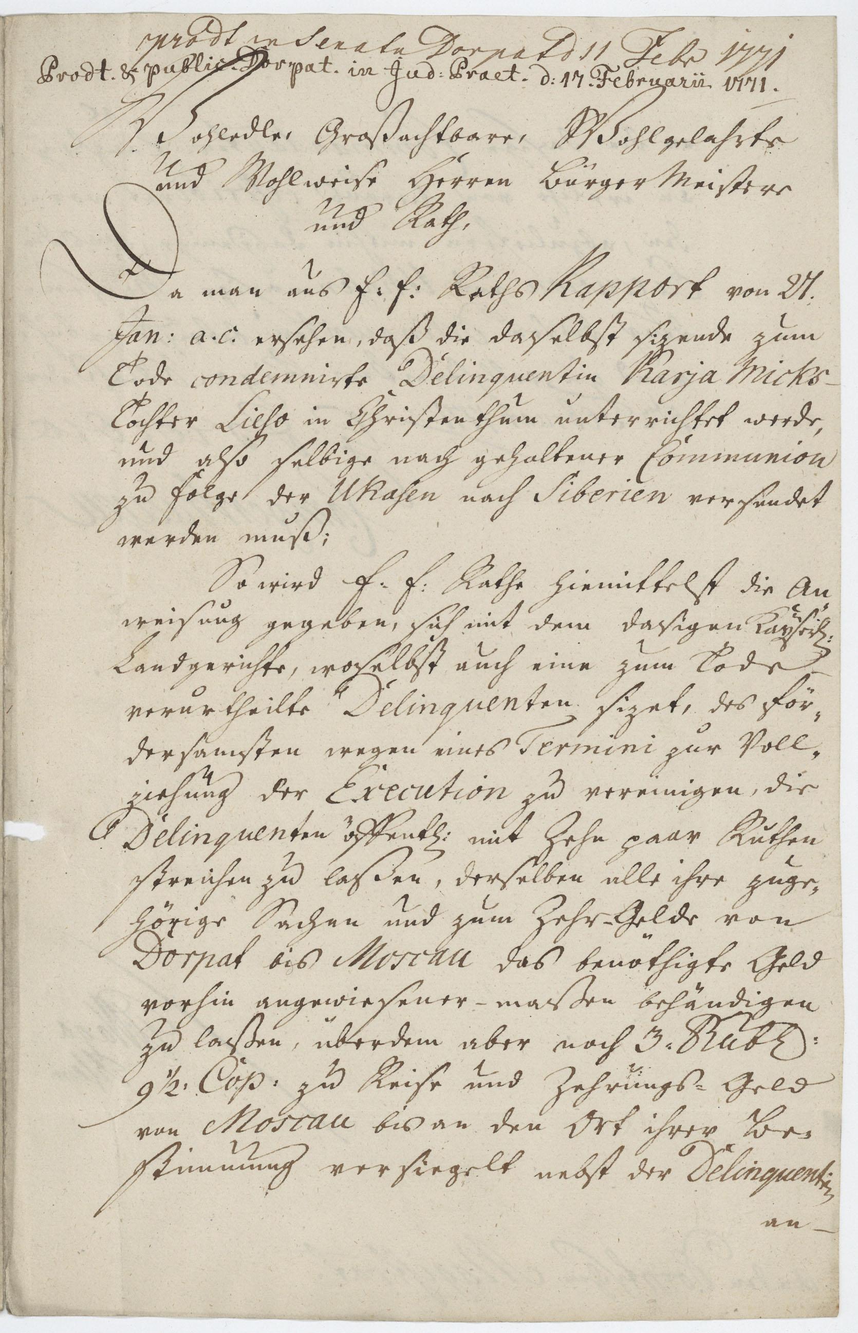 George von Browne'i ja asekuberner Balthasar von Campenhausen'i kiri Tartu magistraadile. EAA 995.1.2948.