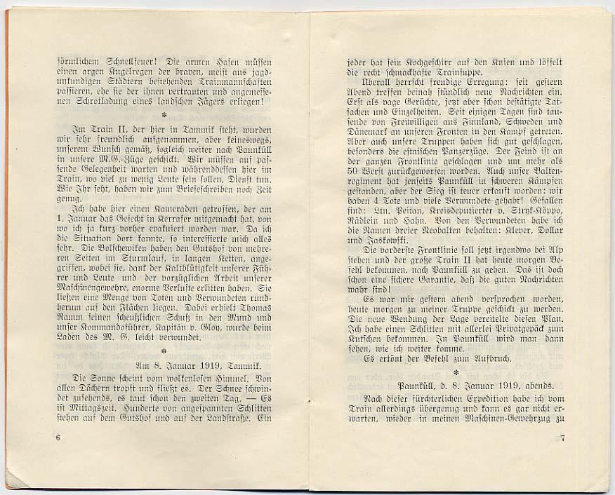 Auf Posten. Tagebuchblätter aus den Winterkämpfen des Baltenregiments von Georg v. Krusenstjern. Tallinn, 1938, S. 6-7.