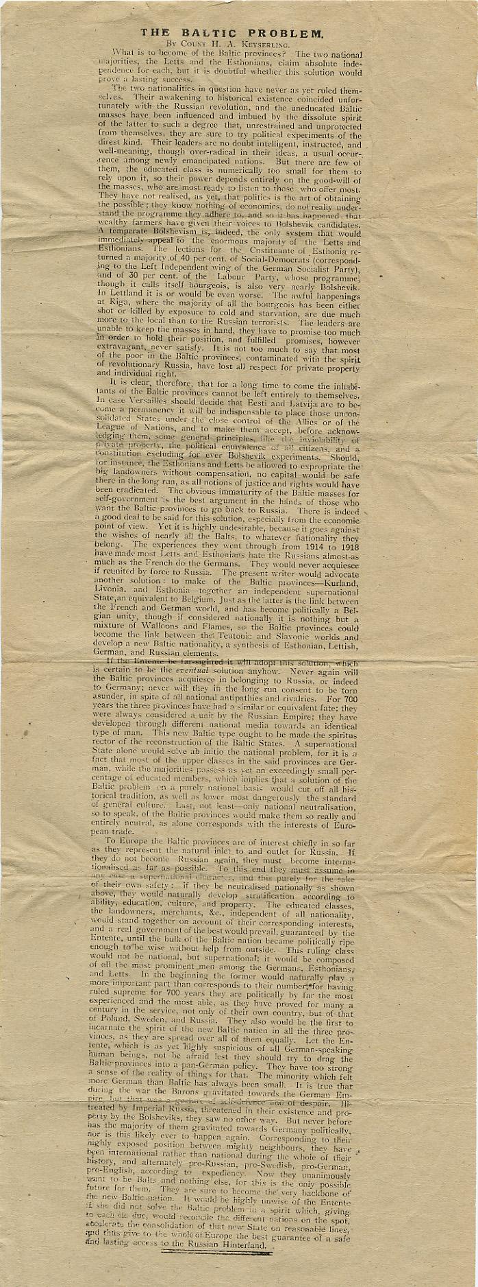 1919. aasta 18. juunil Inglise ajalehes The Westminster Gazette avaldatud Baltisaksa filosoofi ja Raikküla mõisniku Hermann Keyserling'i artikkel «Balti probleem».RA, EAA.854.2.1417