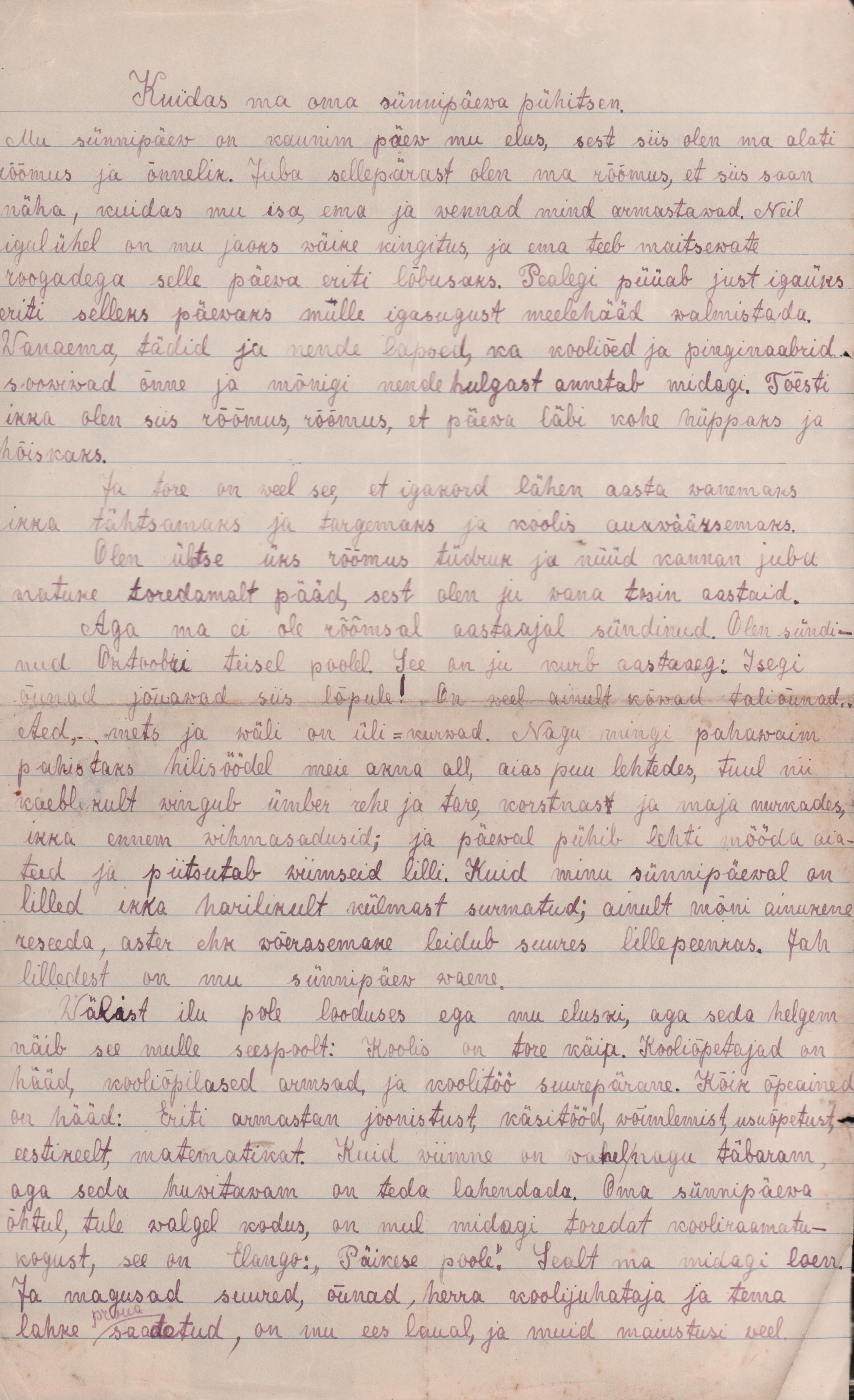 12-aastase Aurora kirjutis oma sünnipäevast. eaa.2223.1.87 aurora