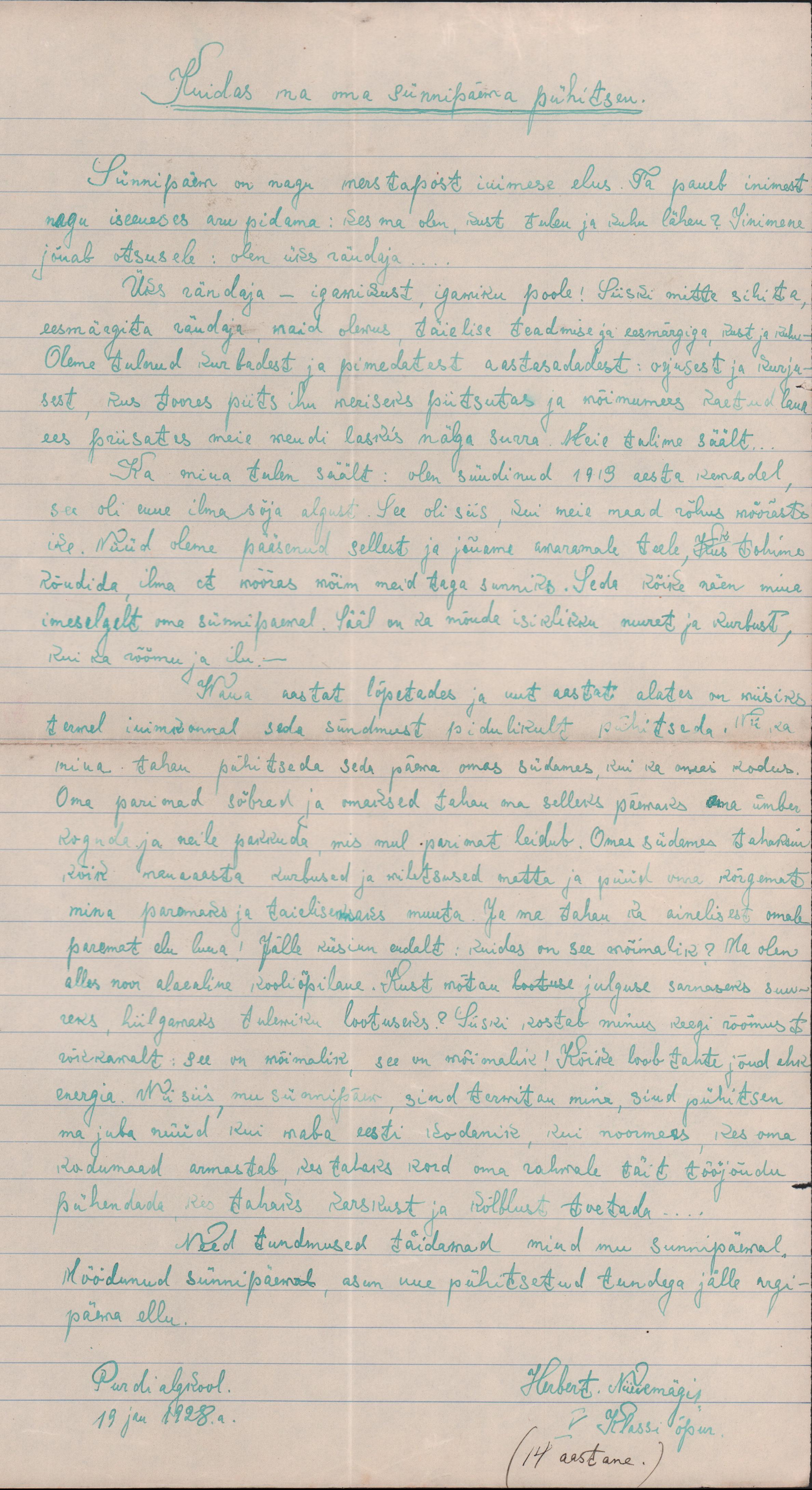 14-aastase Herbert Niinemägi kirjutis oma sünnipäevast. eaa.2223.1.87 herbert