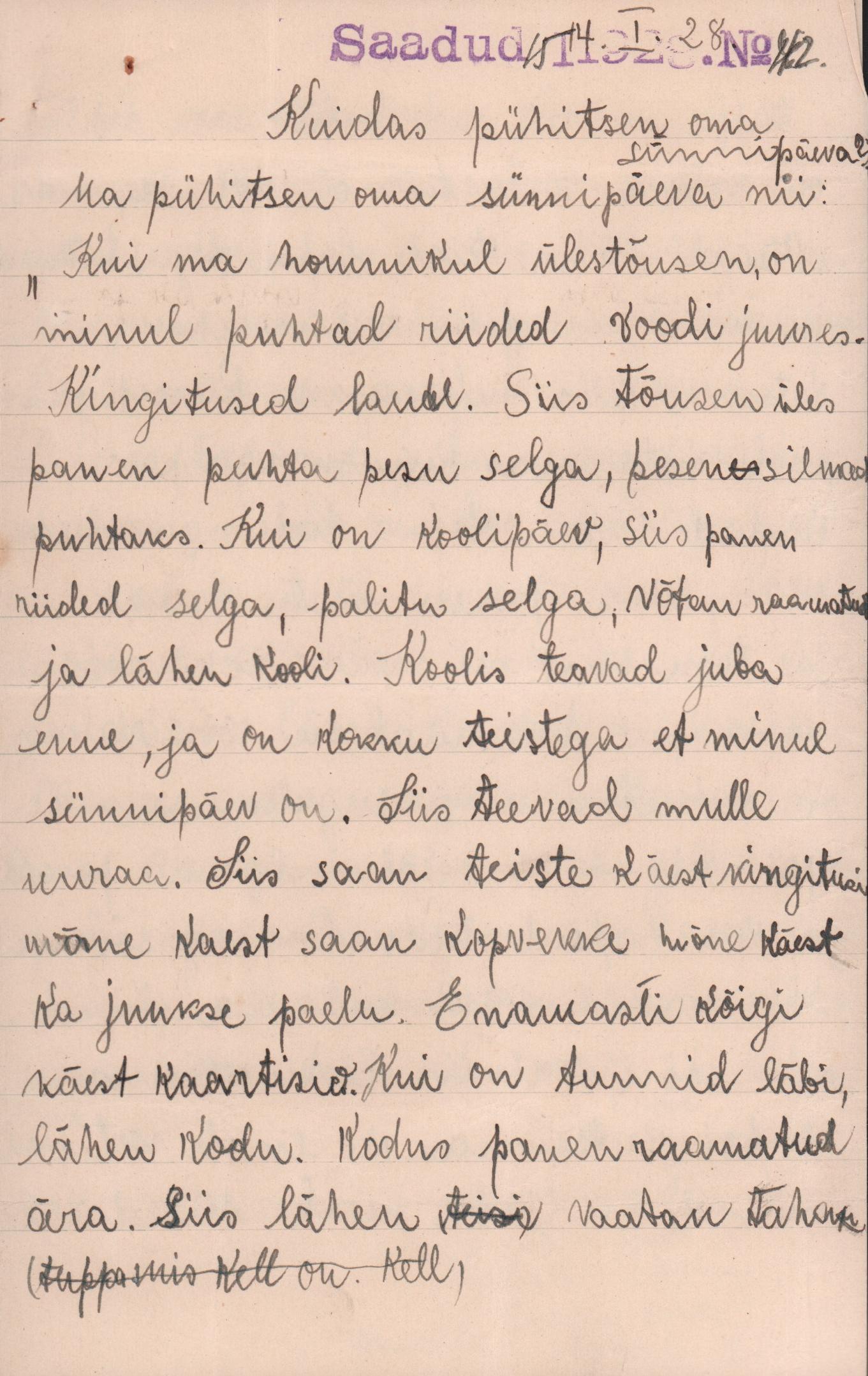 12-aastase Lydia kirjutis oma sünnipäevast.