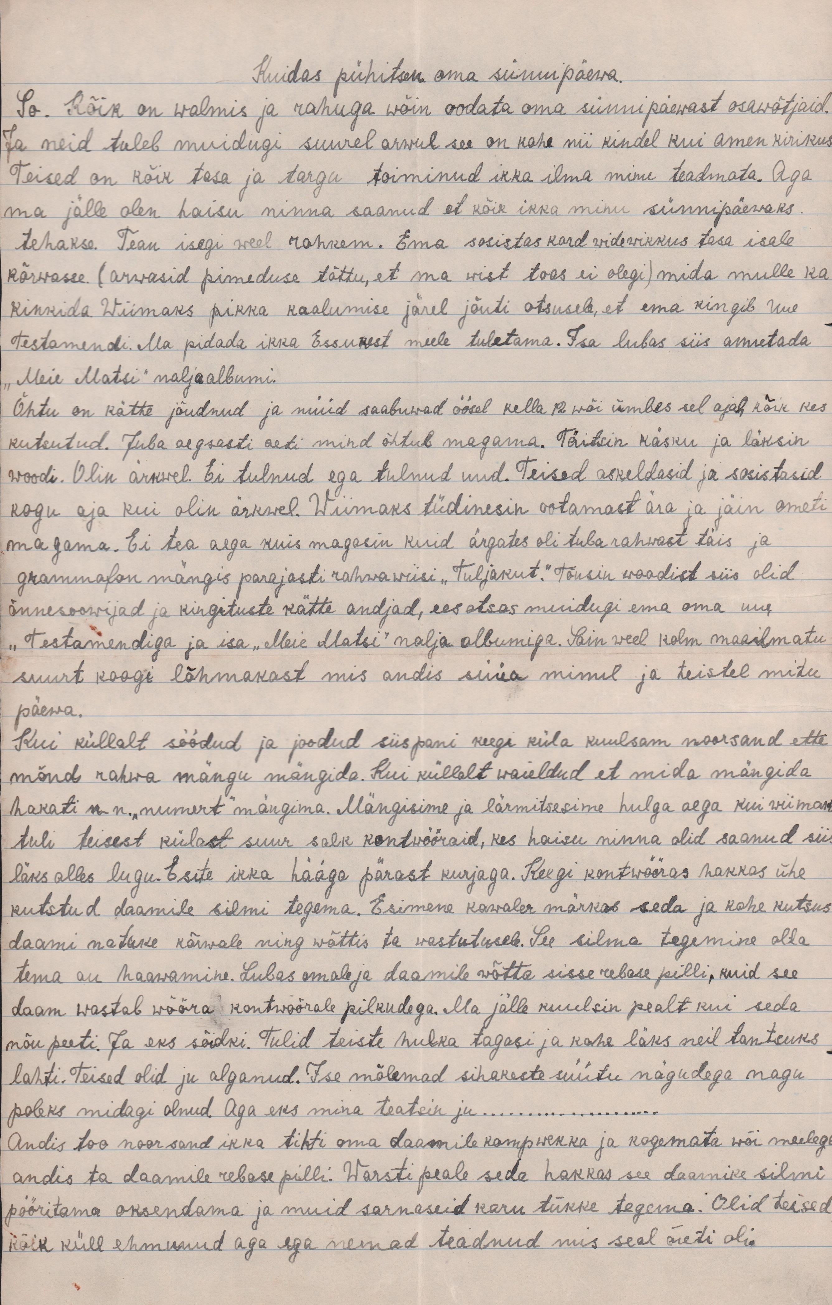 13-aastase Magdaleene kirjutis oma sünnipäevast. eaa.2223.1.87 magdaleene