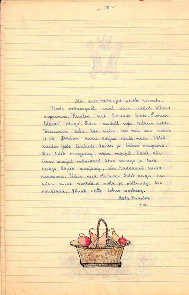 Meeta Laanbek'i käsikirjaline tekst suvevaheaja tegemistest ja joonistus puuviljakorvist. RA, EAA.4562.1.5.50