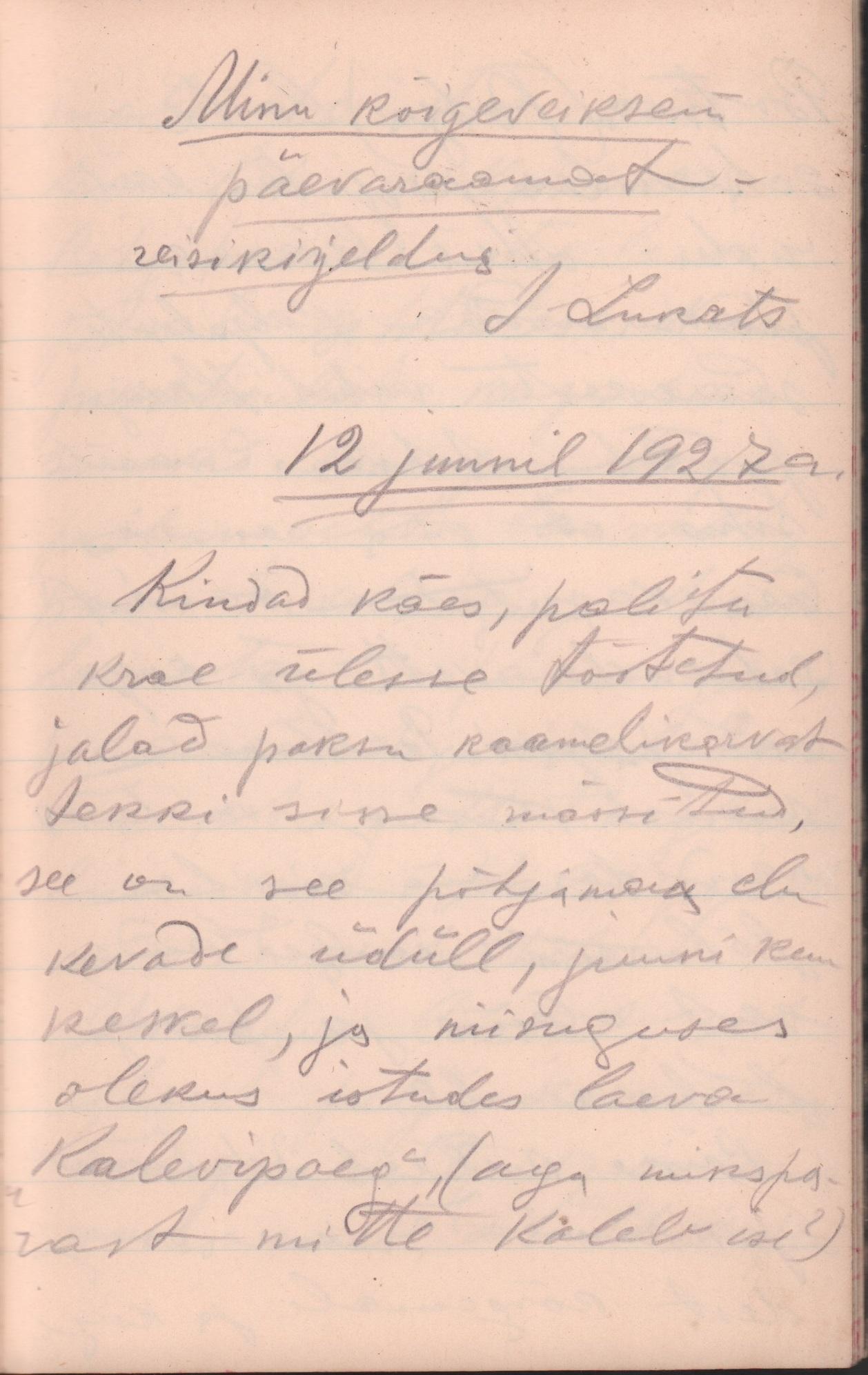 Jakob Lukatsi märkmik aastatest 1926– 1927. Muuhulgas kirjeldab ta seal ka oma lühikest reisi Rootsi. (RA, EAA.5241.1.18) reisikirjeldus