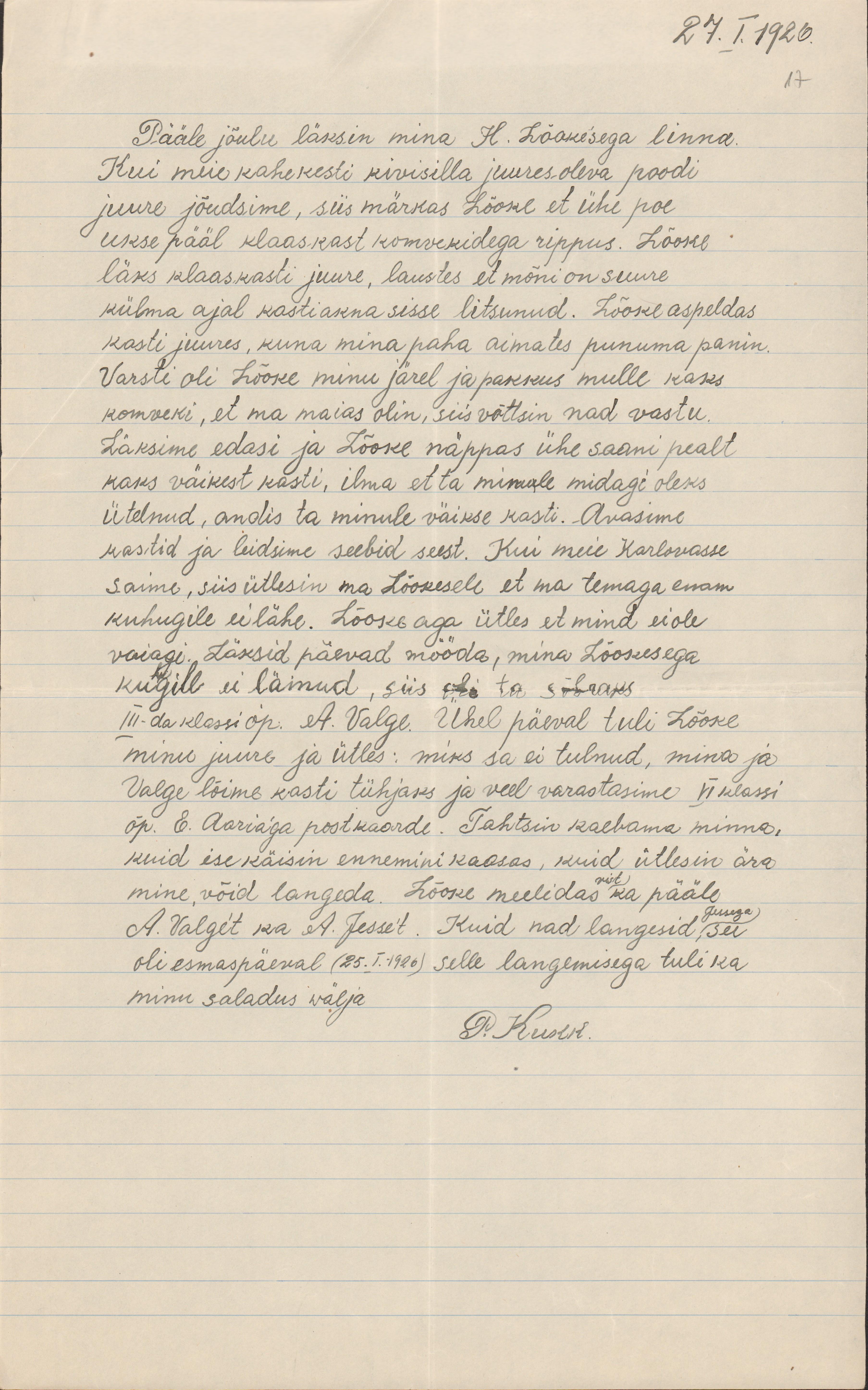 Koolipoisi seletuskiri postkaartide varguse kohta. 1926. eaa.5367.1.68_17