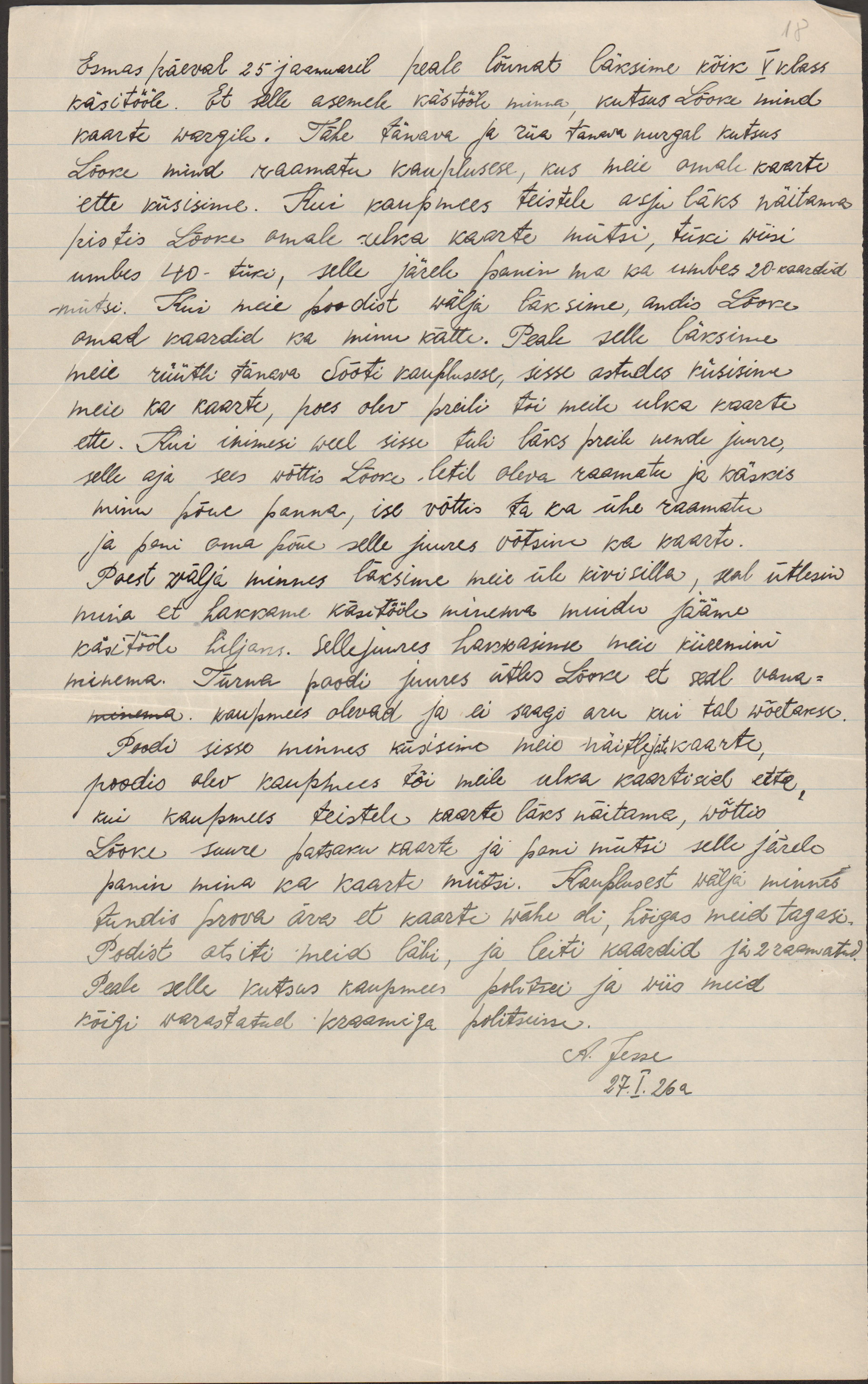 Koolipoisi seletuskiri postkaartide varguse kohta. 1926. eaa.5367.1.68_18
