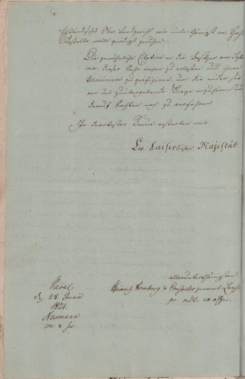 Heinrich Homburgi pöördumine Eestimaa Ülemmaakohtu poole. RA, EAA.858.1.2579, l 15p