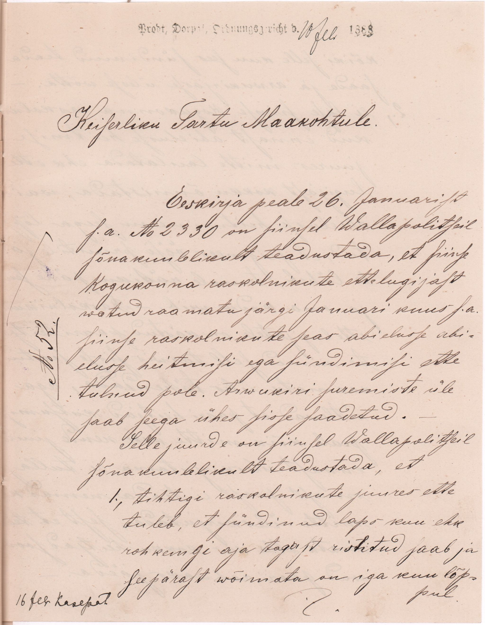 Kasepää vallapolitsei aruane keiserlikule Tartu maakohtule 1888. aastal, milles selgitab, miks vanausuliste sünde ja abielusid ei saa nõuetekohaselt kirja panna. RA, EAA.949.1.1607