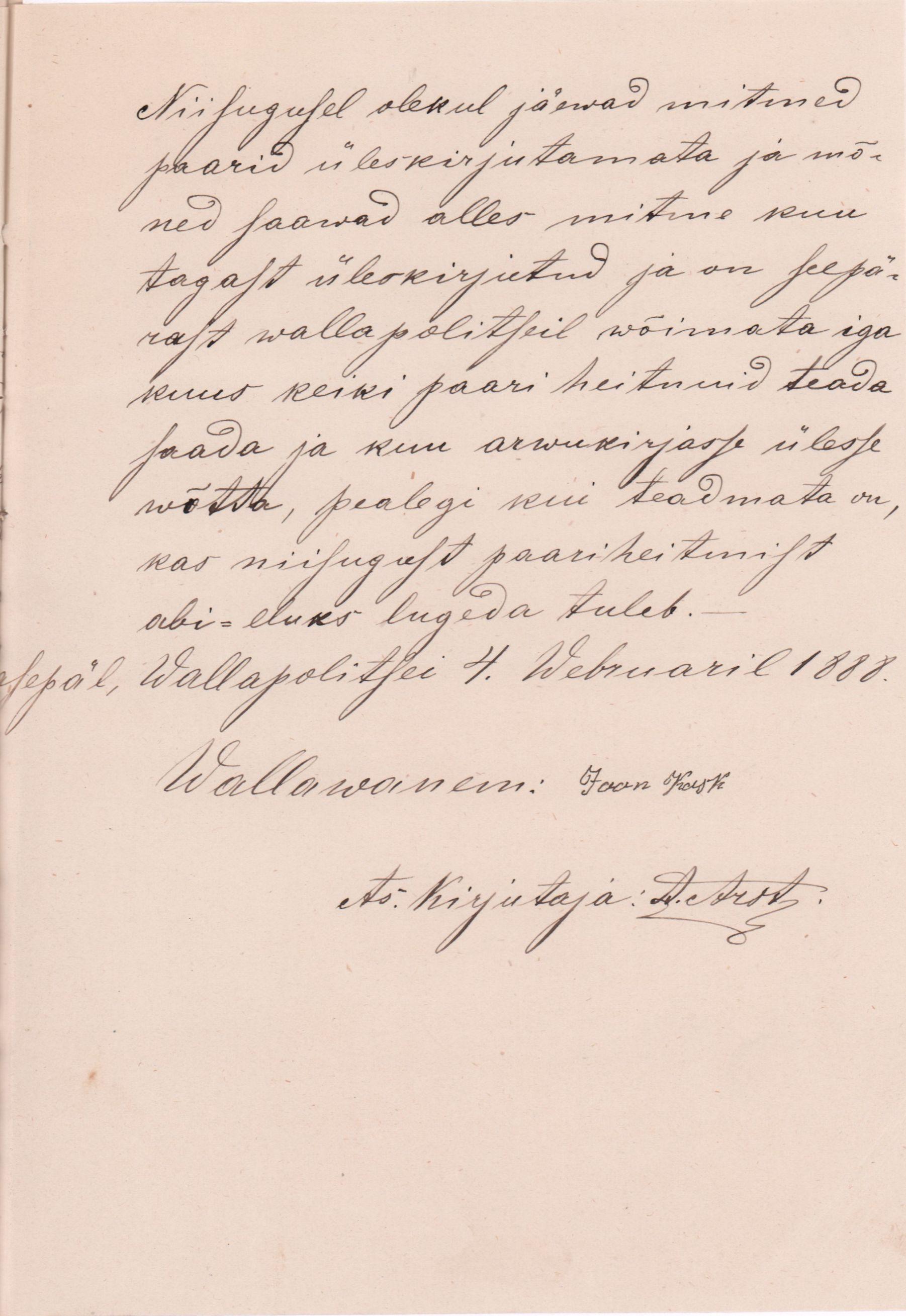 Kasepää vallapolitsei aruane keiserlikule Tartu maakohtule 1888. aastal, milles selgitab, miks vanausuliste sünde ja abielusid ei saa nõuetekohaselt kirja panna. RA, EAA.949.1.1607. eaa.949.1.1607_c