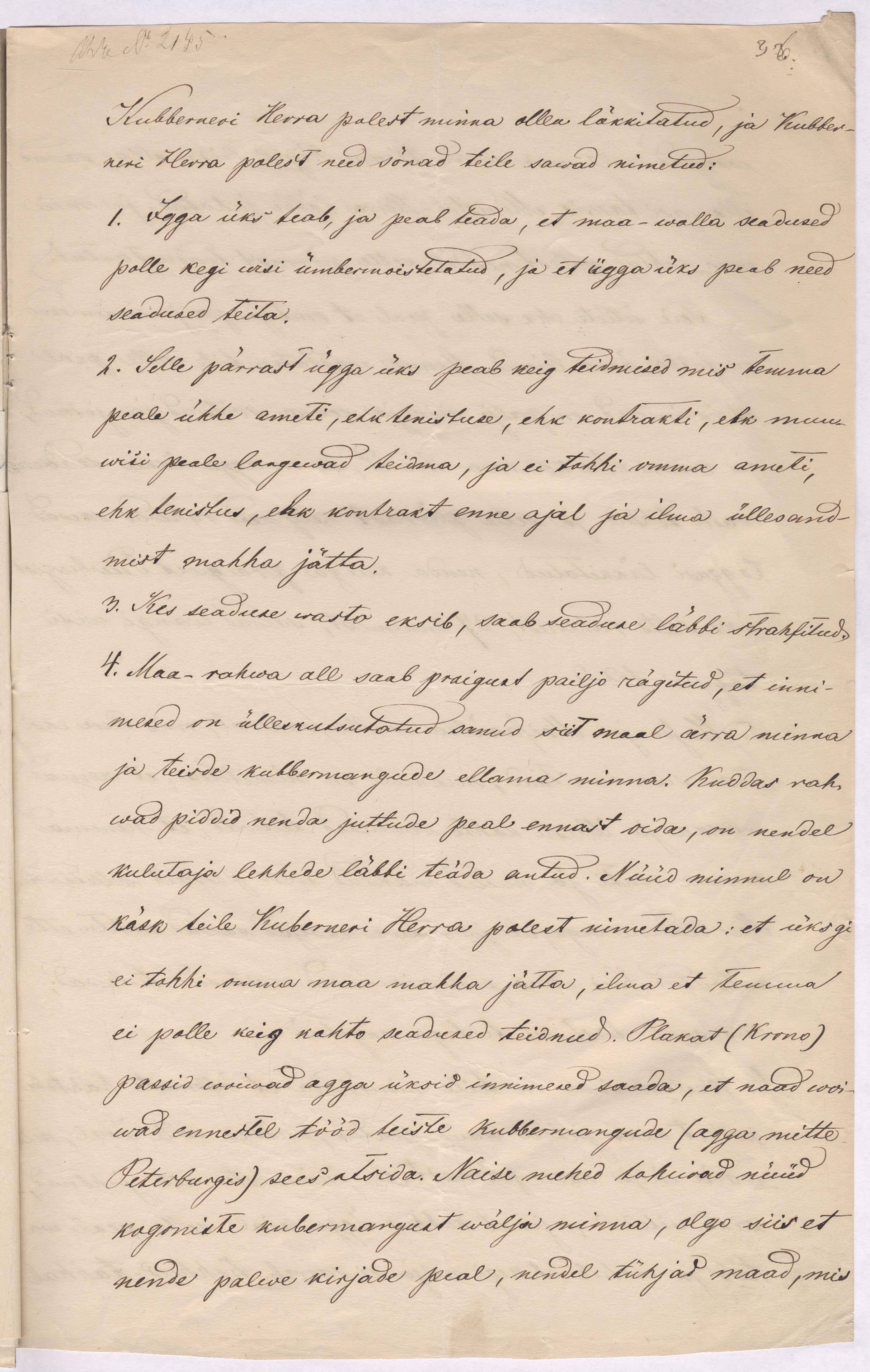 Eestimaa kubermanguvalitsuse manitsus Massu talupoegadele. 9.11.1868. EAA.29.2.135