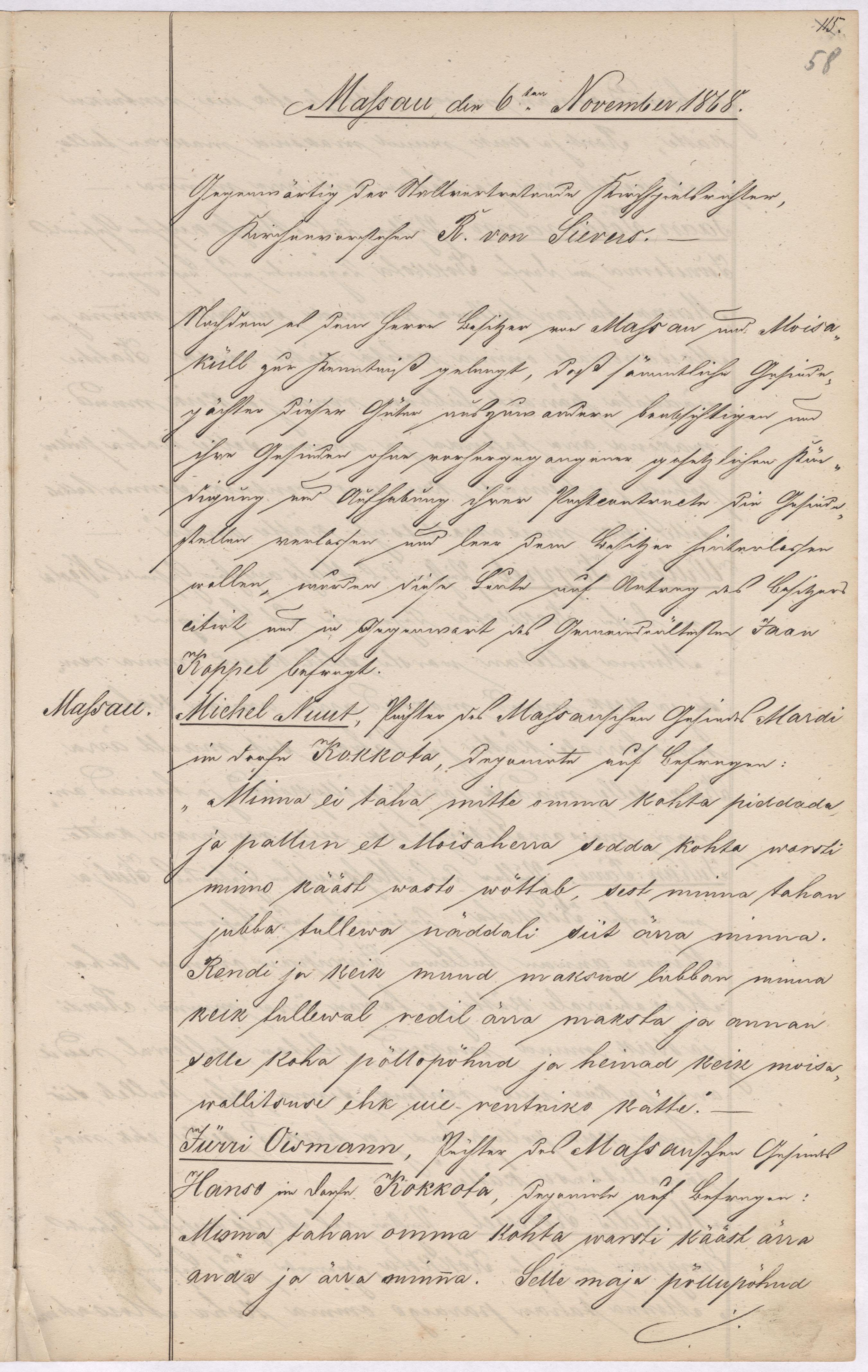 Fragment Karuse-Hanila kihelkonnakohtu protokollist, milles enamik Massu talurentnikke teatab mõisaomanikule oma rendikoha ülesütlemisest. 6.11.1868. EAA.891.1.4