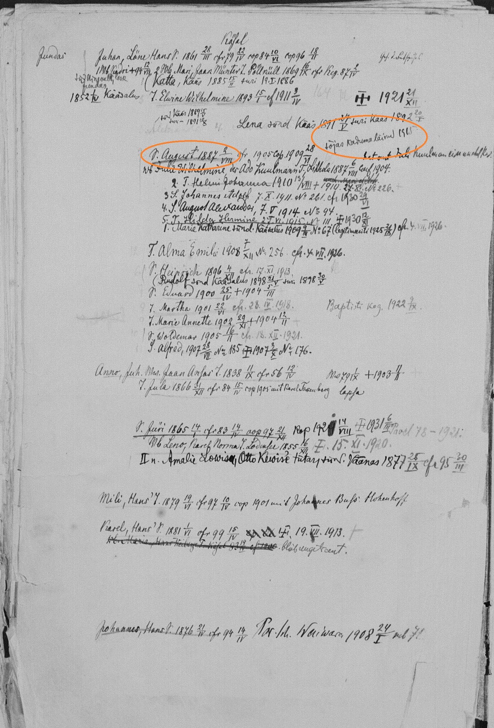 August Jundas perega EELK Keila koguduse personaalraamatus. eaa1214_001_0000182_00150_m