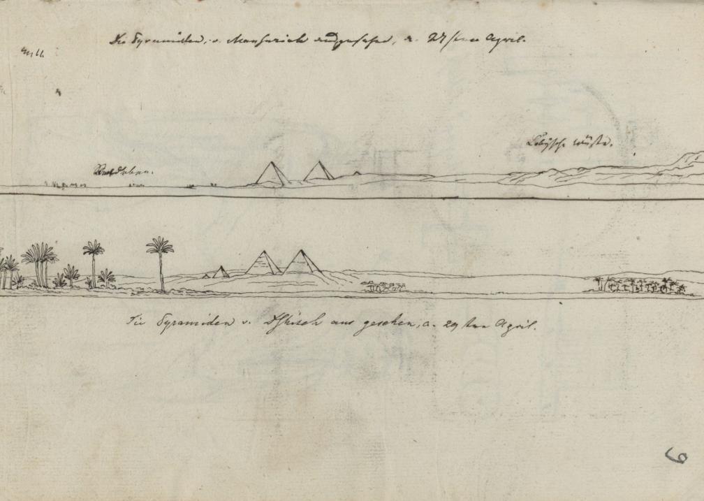Giza suured püramiidid (vkj) 29. aprillil 1815. O. Fr. von Richteri joonistus 1815. aastast. RA, EAA.1388.1.1135, l. 9.