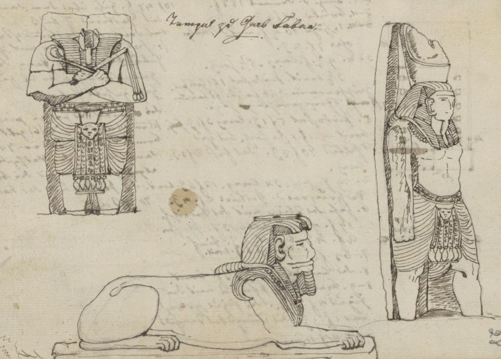 Wadi es-Sebua templi monumentaalskulptuurid. O. Fr. von Richteri joonistus 1815. aastast. RA, EAA.1388.1.1135, l. 28.