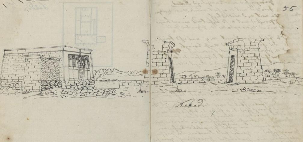 Debodi tempel (ehitatud 2. saj eKr). O. Fr. von Richteri joonistus 1815. aastast. RA, EAA.1388.1.1135, l. 55.