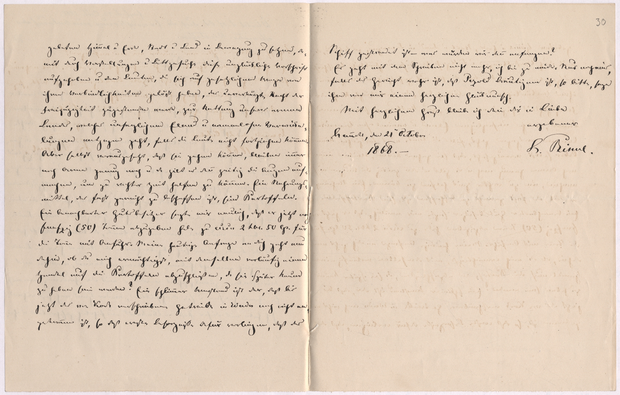 Hanila pastori Leopold Rinne kiri Eestimaa hädaabikomitee sekretärile Oskar Riesemannile. 21.10.1868. EAA.1685.1.9