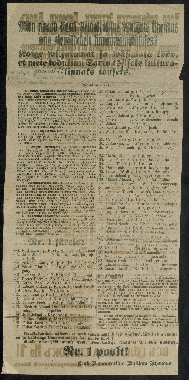 Eesti Demokraatliku Valijate Ühenduse ehk nimekiri nr 1 üleskutse koos kandideerijate nimekirjaga (RA, EAA.2311.1.52, l. 5). eaa2311_001_0000052_00005_t
