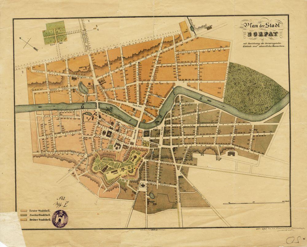Tartu 1870. aastate alguses. Linna kaart. (RA, EAA.2623.1.2044 leht 50). eaa2623_001_0002044_00050_k_2