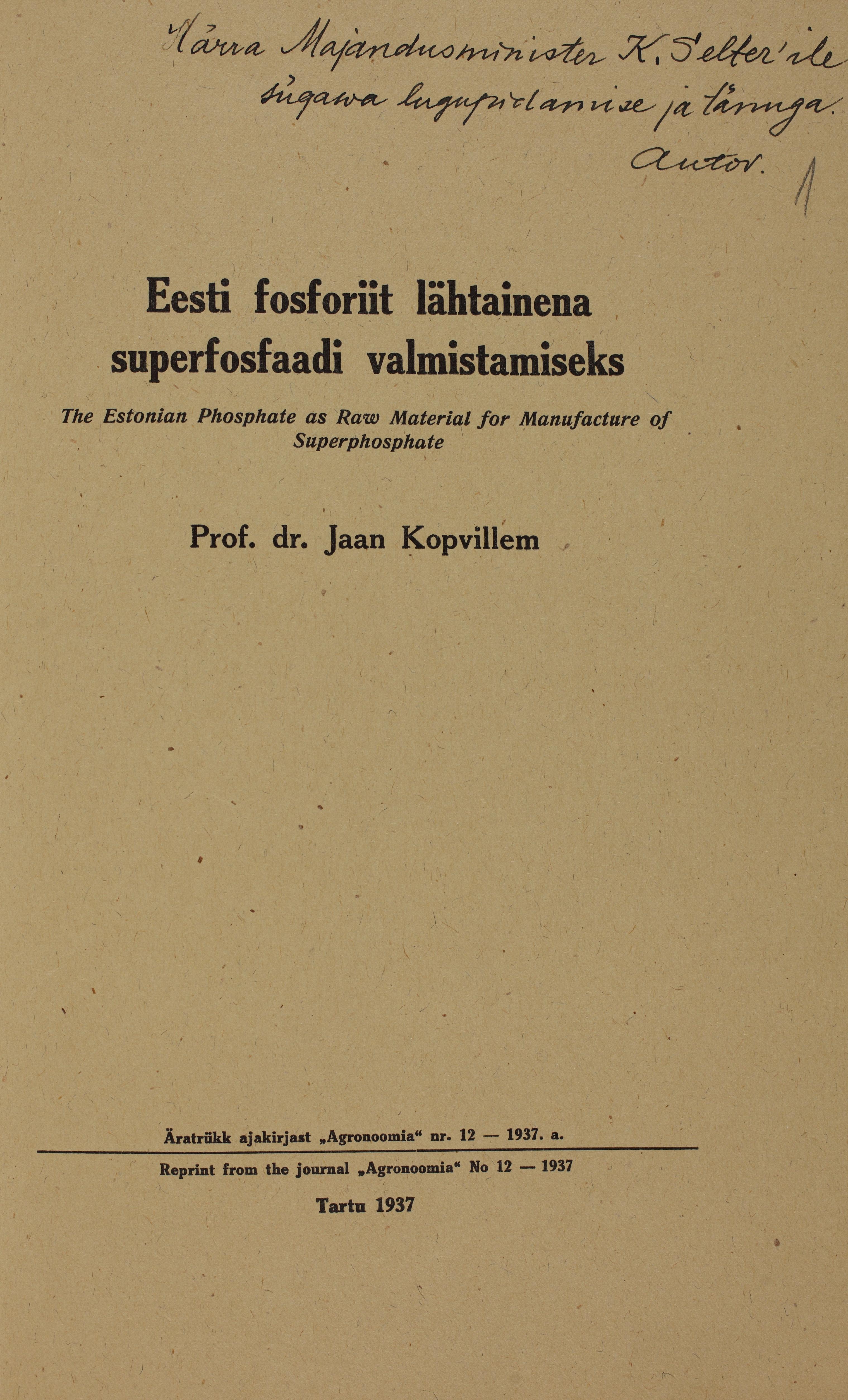Prof. dr. Kopvillemi artikli ärakirja esikaas pühendusega majandusminister Karl Selterile. ERA.4940.1.7