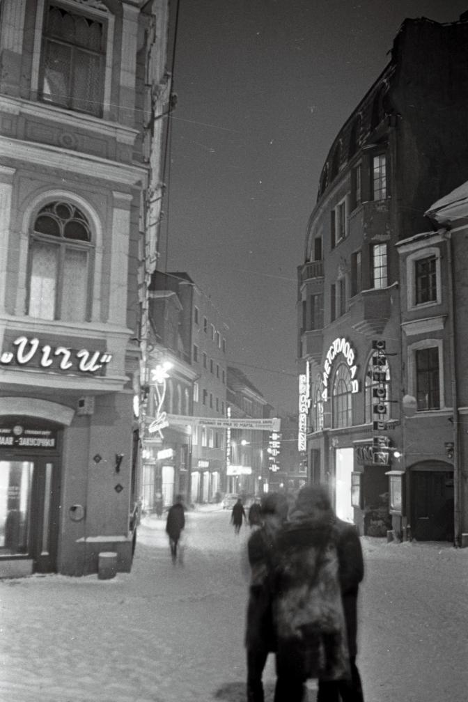 Õhtune tuledesäras Viru tänav 1969.a. talvel. EFA.204.0-81032