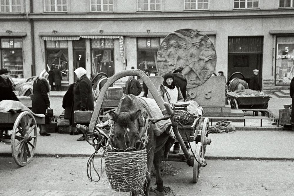 Naine müüb hobuvankrilt kaupa. Oskar Viikholmi foto 1939. 35mm negatiivfilm