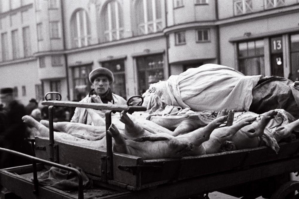 Mees turul tapetud sigu müümas. Oskar Viikholmi foto 1939. 35mm negatiivfilm