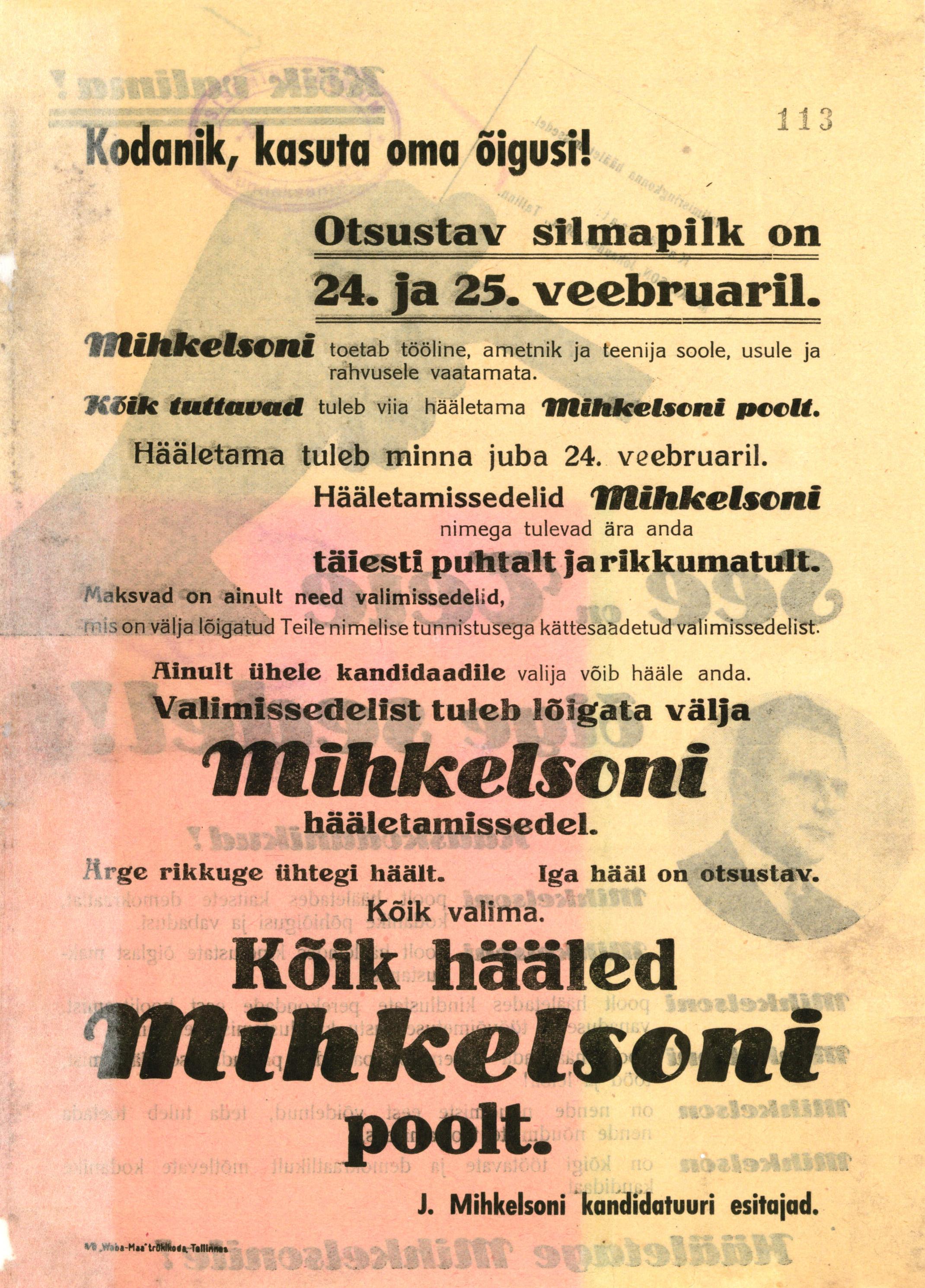Valmisplakat 1938. aasta Riigikogu valimisteks. ERA.1962.1.66