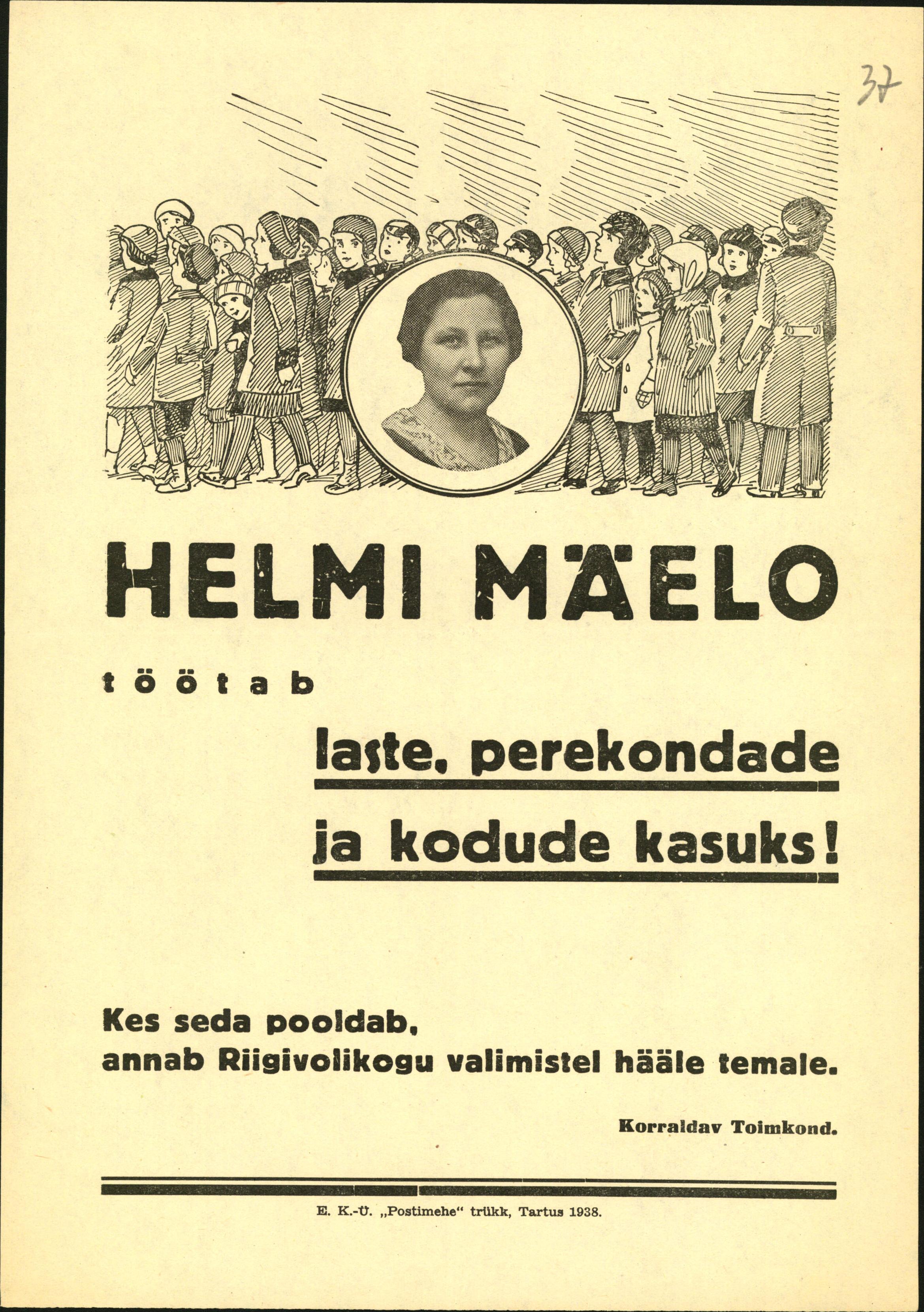 Valmisplakat 1938. aasta Riigikogu valimisteks. ERA.4392.1.44
