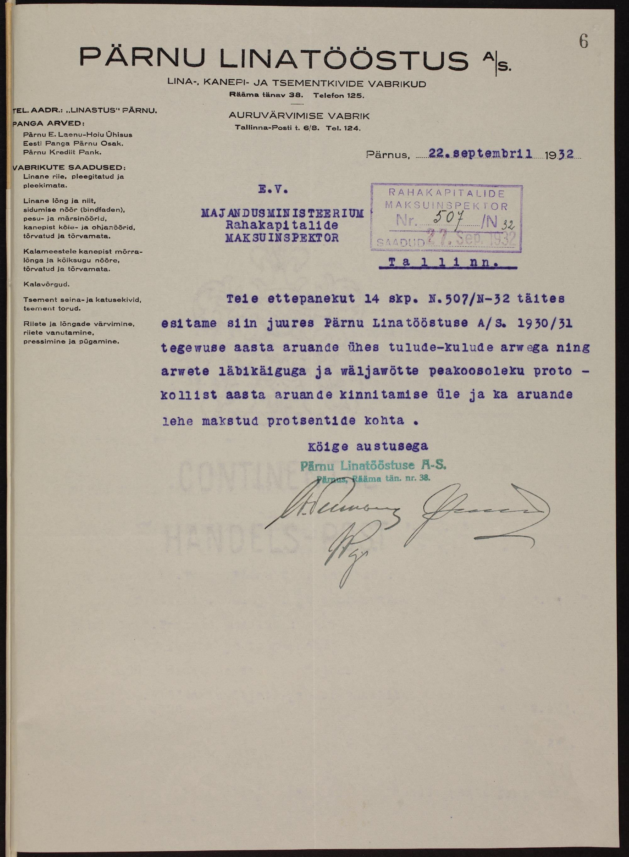 Väljavõte Pärnu Linatööstuse 1931. aasta majandusaruandest. ERA.72.2.2473