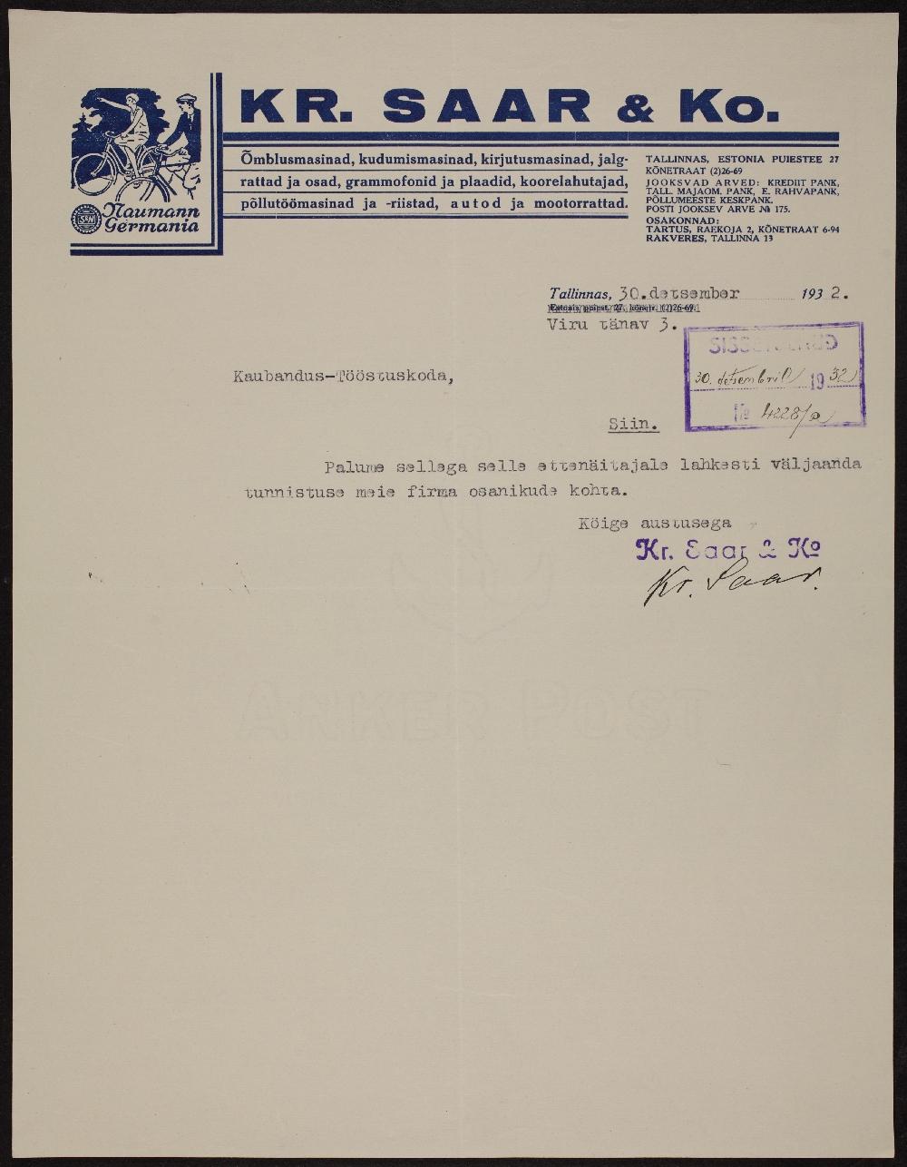 """Väljavõte õmblusmasinate ja jalgrataste kaupluse """"Kr. Saar ja Ko"""" registreerimistoimikust, 30.12.1932. ERA.891.2.2913"""