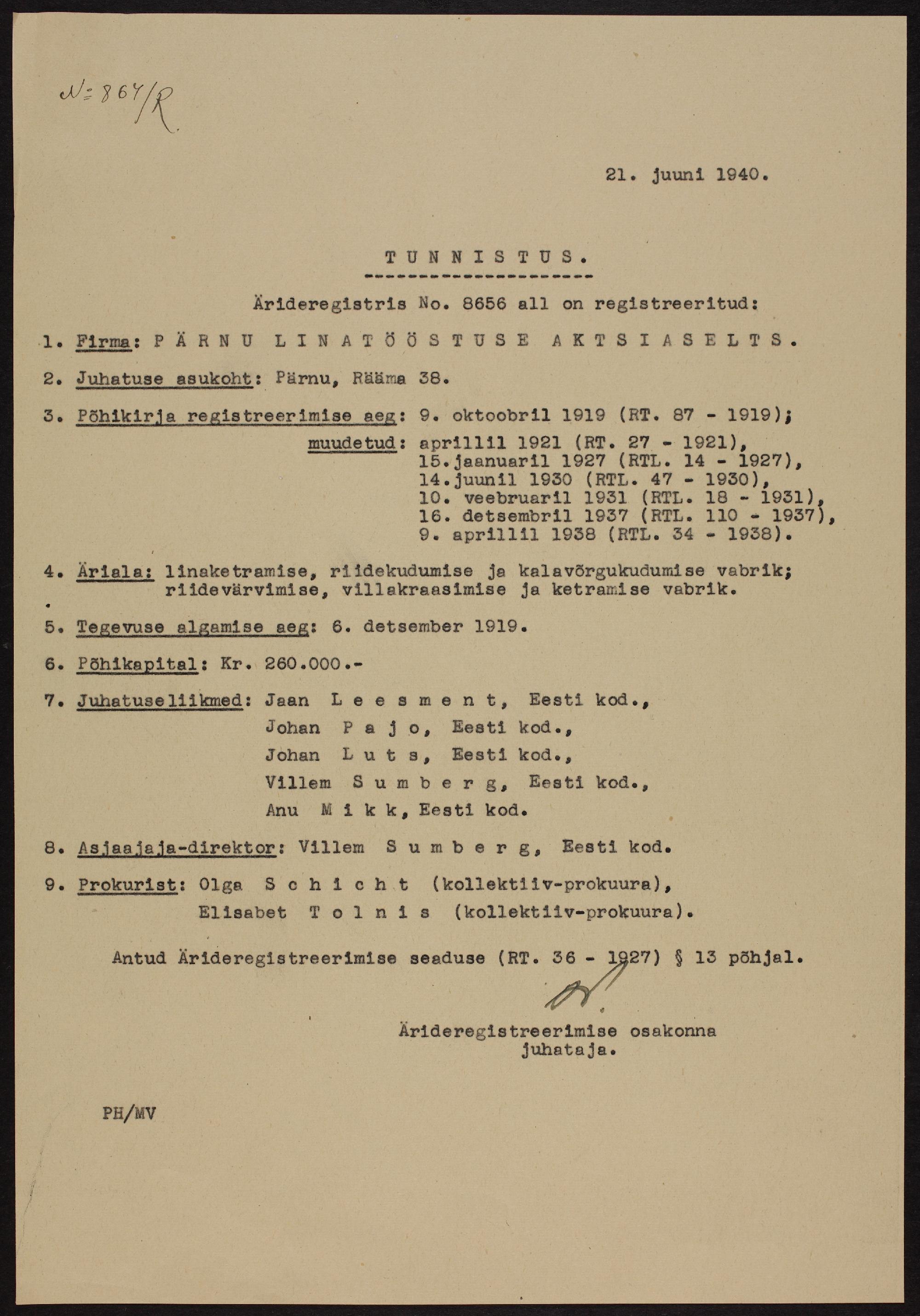 Väljavõte Pärnu Linatööstuse registritoimikust, 1940. ERA.891.2.8656