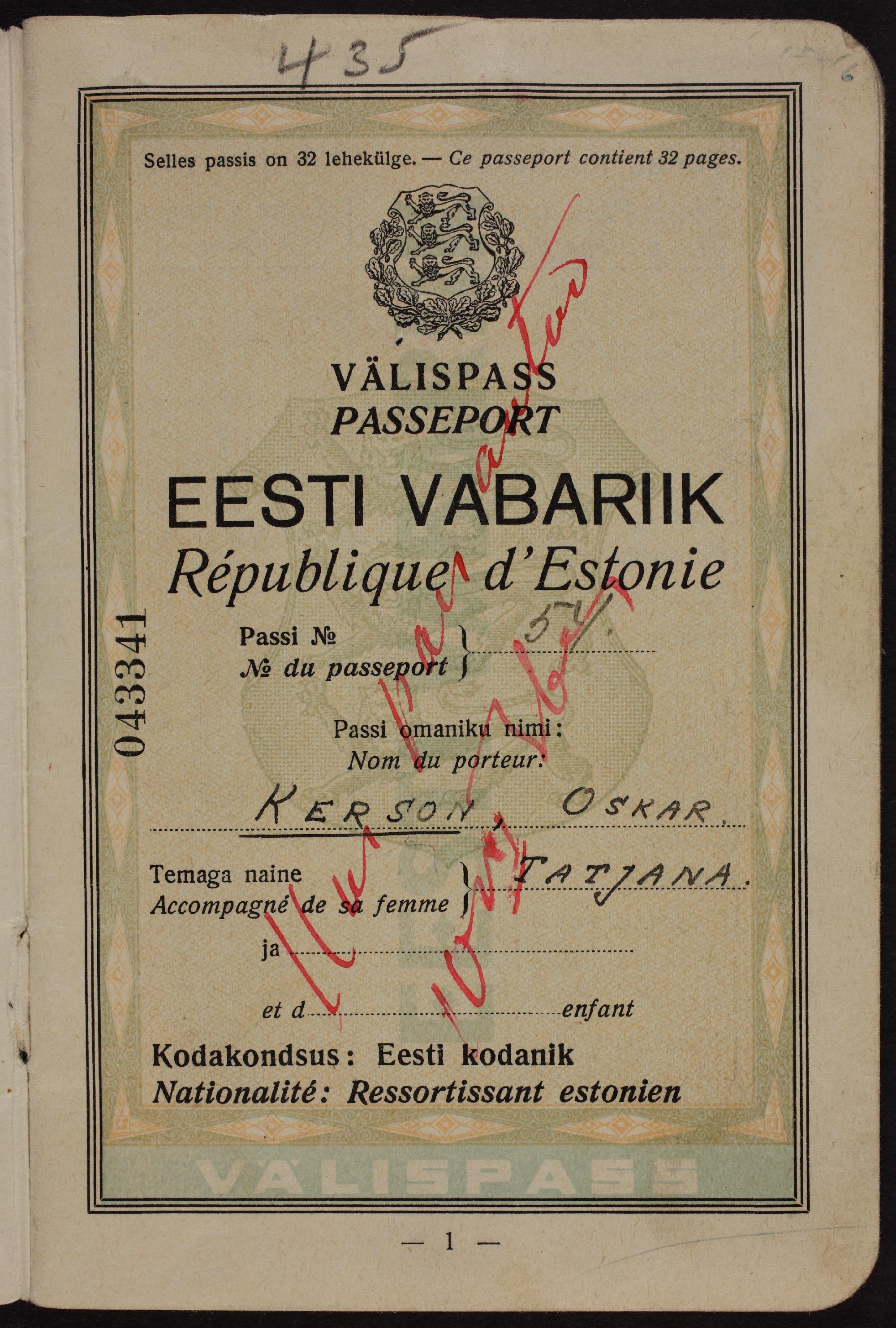 Oskar Kersoni välispass. ERA.1.2.650