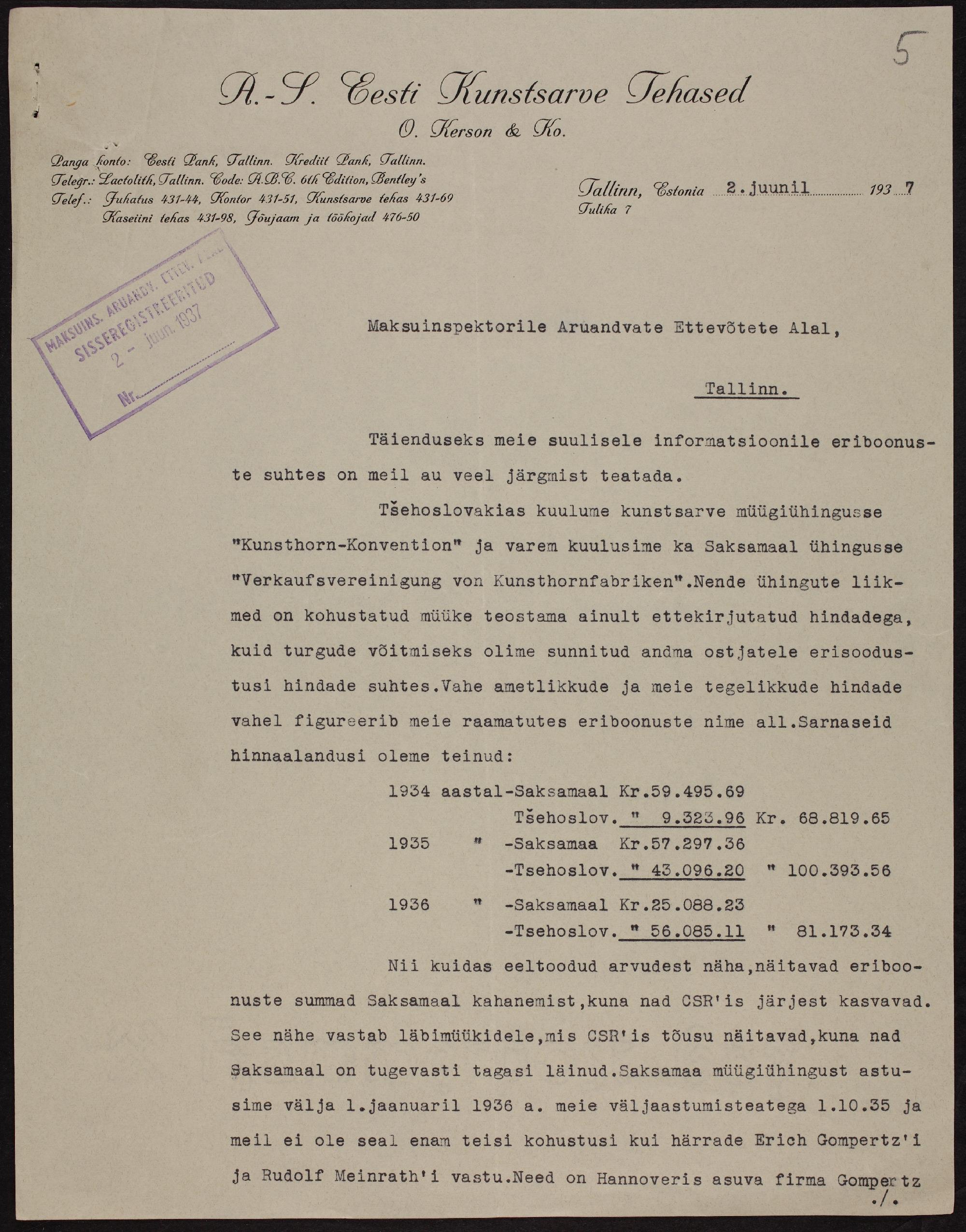 """Väljavõte """"Kerson ja Ko"""" - Eesti Kunstsarve Tehased maksutoimikust, 1936. ERA.72.2.7140"""