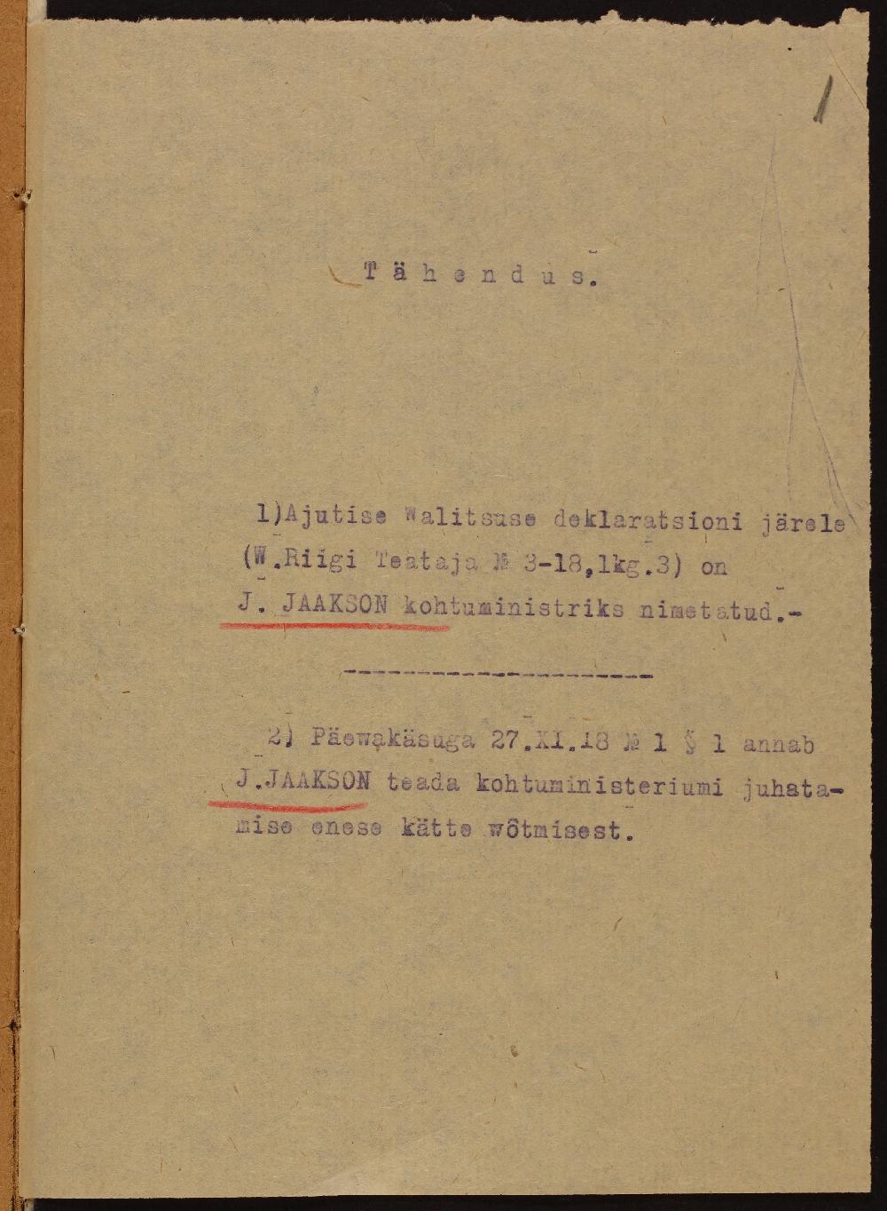 Teade Jüri Jaaksoni kohtuministrist nimetamiseks.27.11.1918. ERA.76.5.143. era0076_005_0000143_00001_t