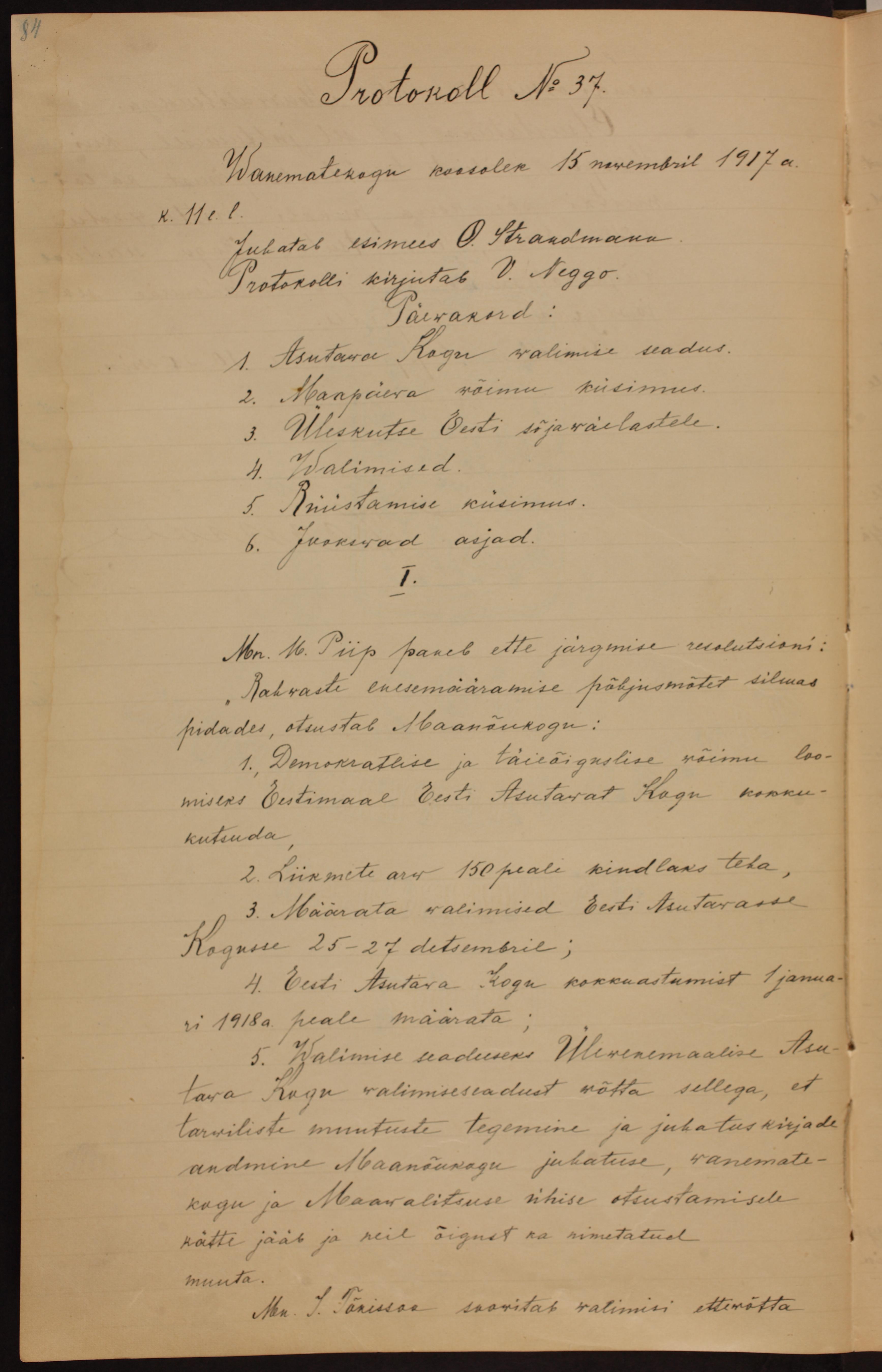 Vanematekogu koosoleku protokoll. Juhatab esimees O. Strandman. 15.11.1917. ERA.78.1.49. era0078_001_0000049_00001_t