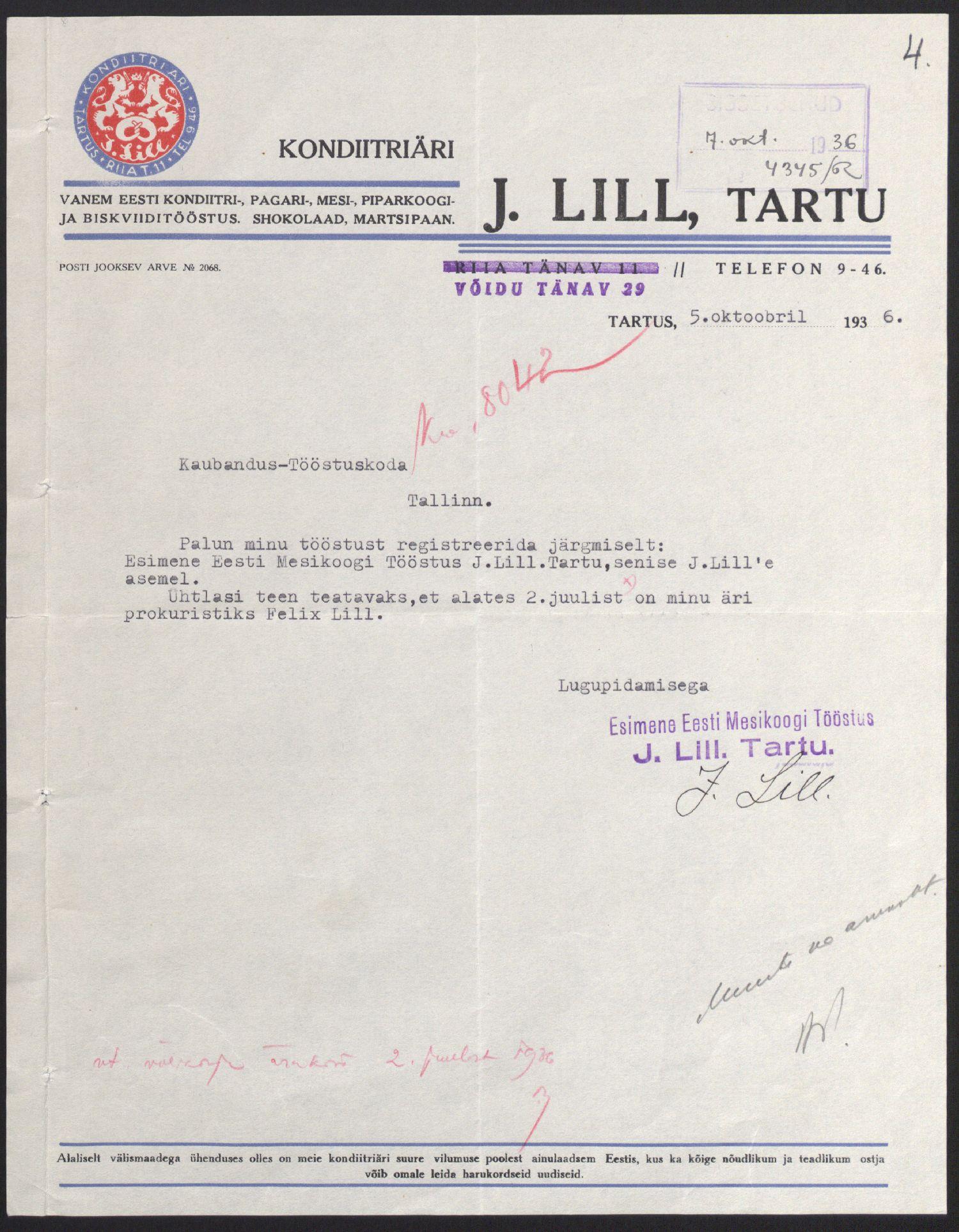 Juhan Lille avaldus Kaubandus-tööstuskojale Esimese Eesti Mesikoogi tööstuse registreerimiseks, 1936. ERA.891.2.956