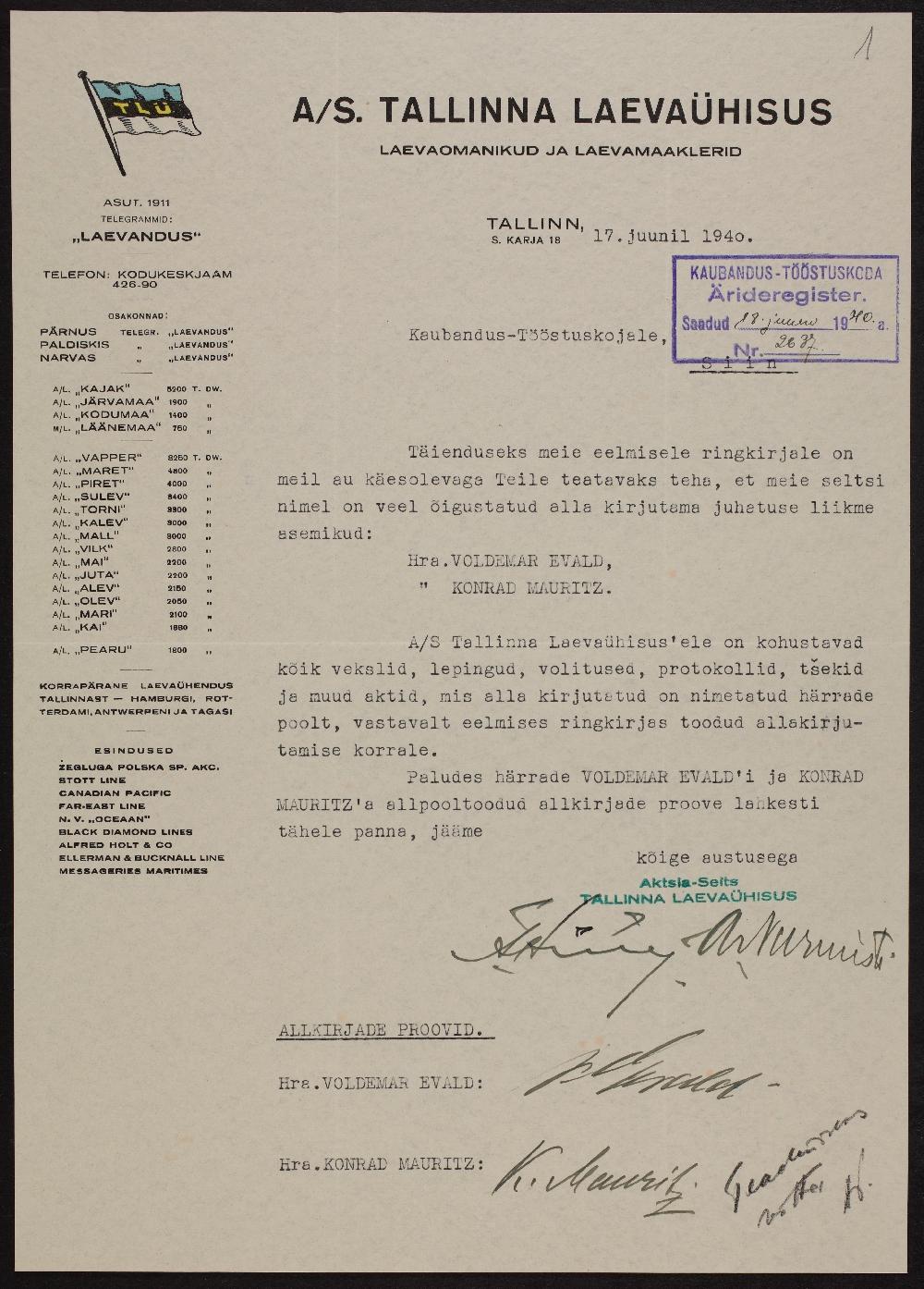 Väljavõte A/S Tallinna Laevaühisuse registreerimistoimikust, 17.06.1940. ERA.891.2.2562